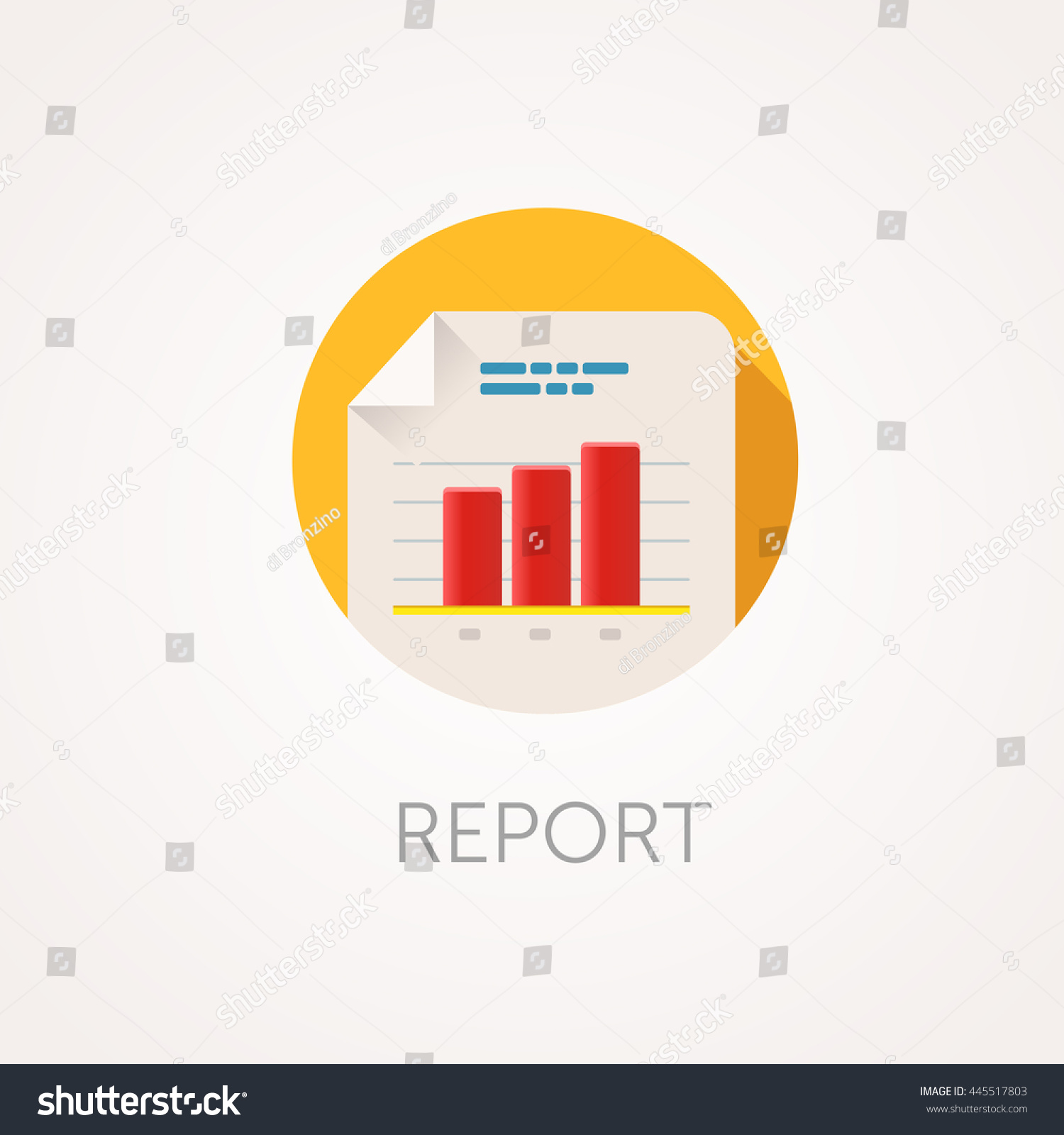 report icon flat design style with long shadow data