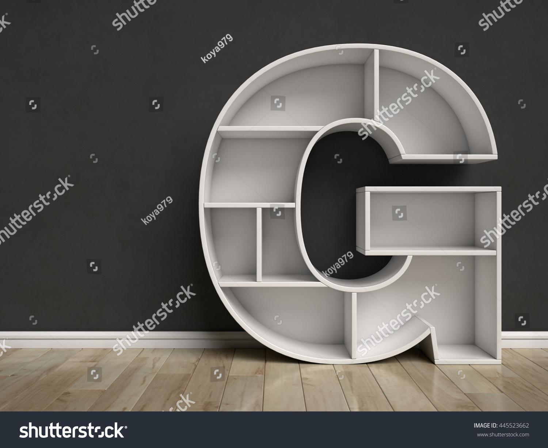 Realistic 3d illustration of modern wooden bookshelf against ston - Letter G Shaped Shelves 3d Rendering