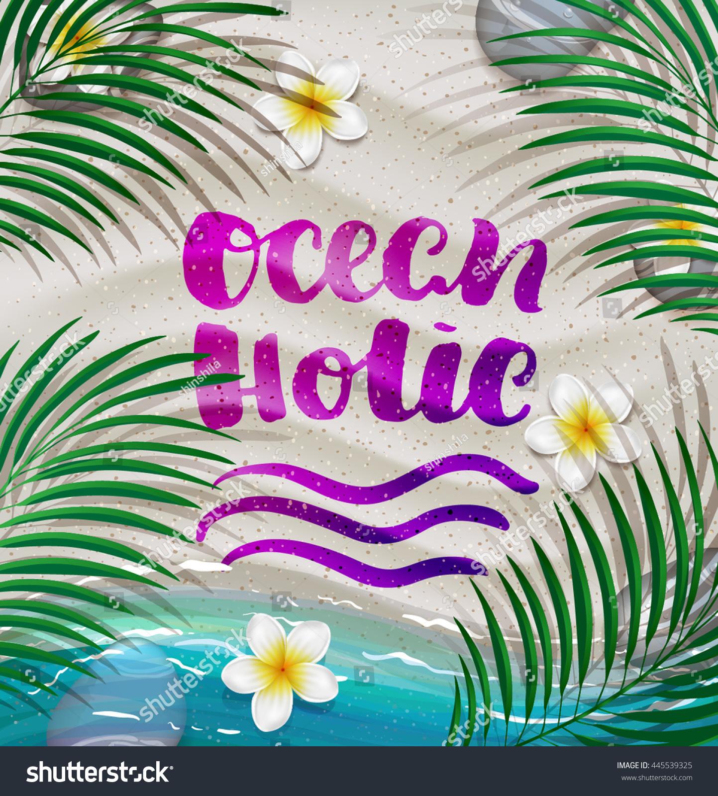 C Stock Quote Hand Drawn Calligraphy Ocean Holic C Stock Vector 445539325