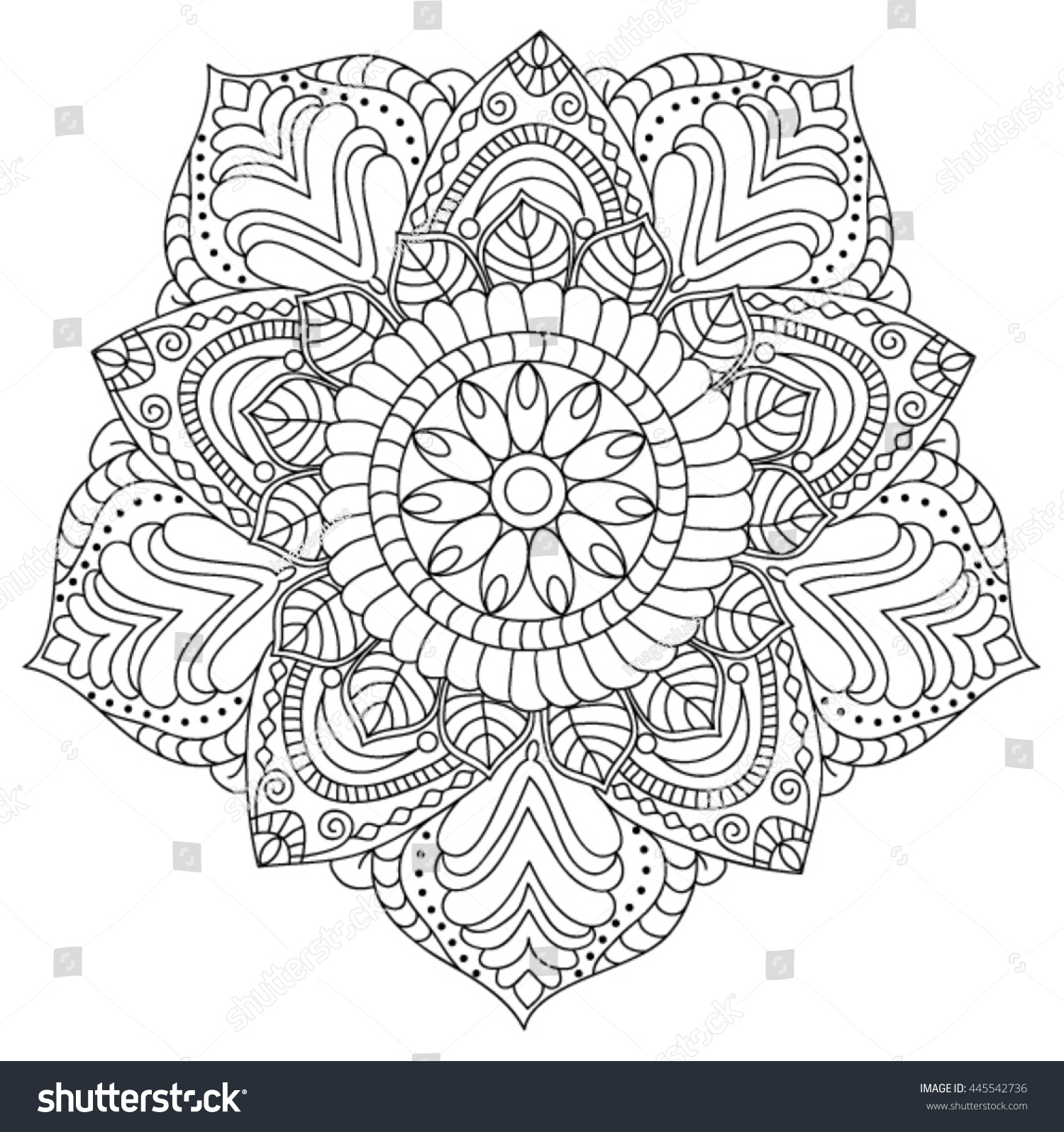 mandala coloring page illustration stock vector 445542736