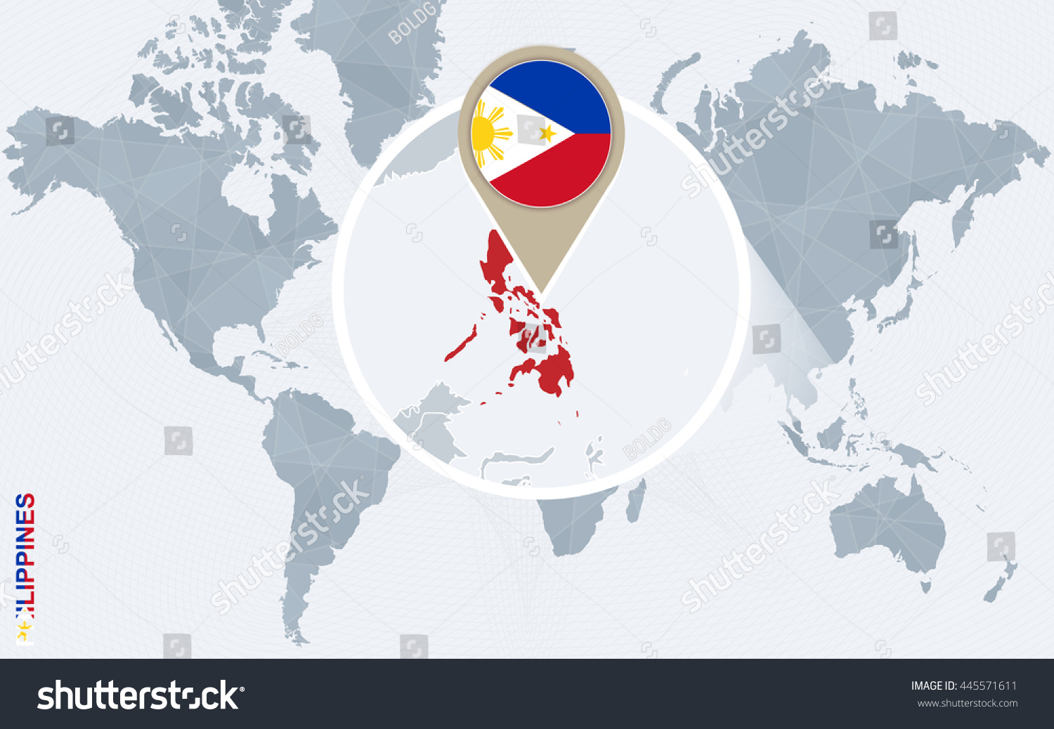 Abstract Blue World Map Magnified Philippines Stock Vector (Royalty ...