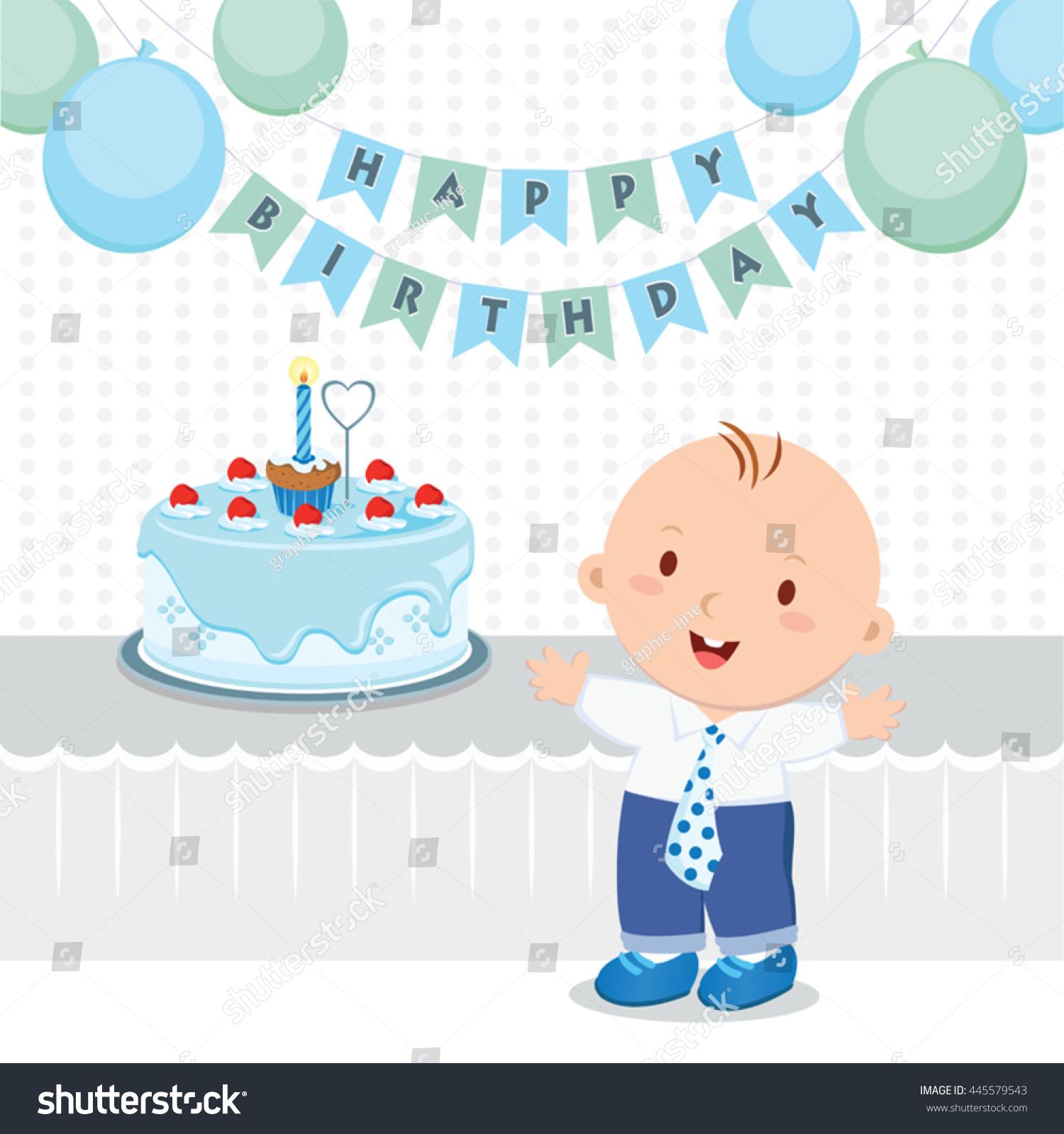 Baby Boy Birthday Party Vector Illustration Stock Vektorgrafik