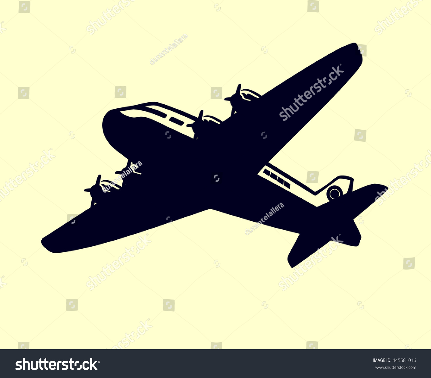 Vintage Airplane Vector Clip Art Simple Stock Photo (Photo, Vector ...