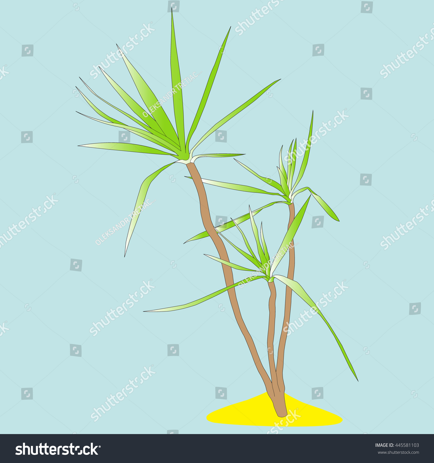 Color Image Palm Trees On Small Stock Vector 445581103 - Shutterstock