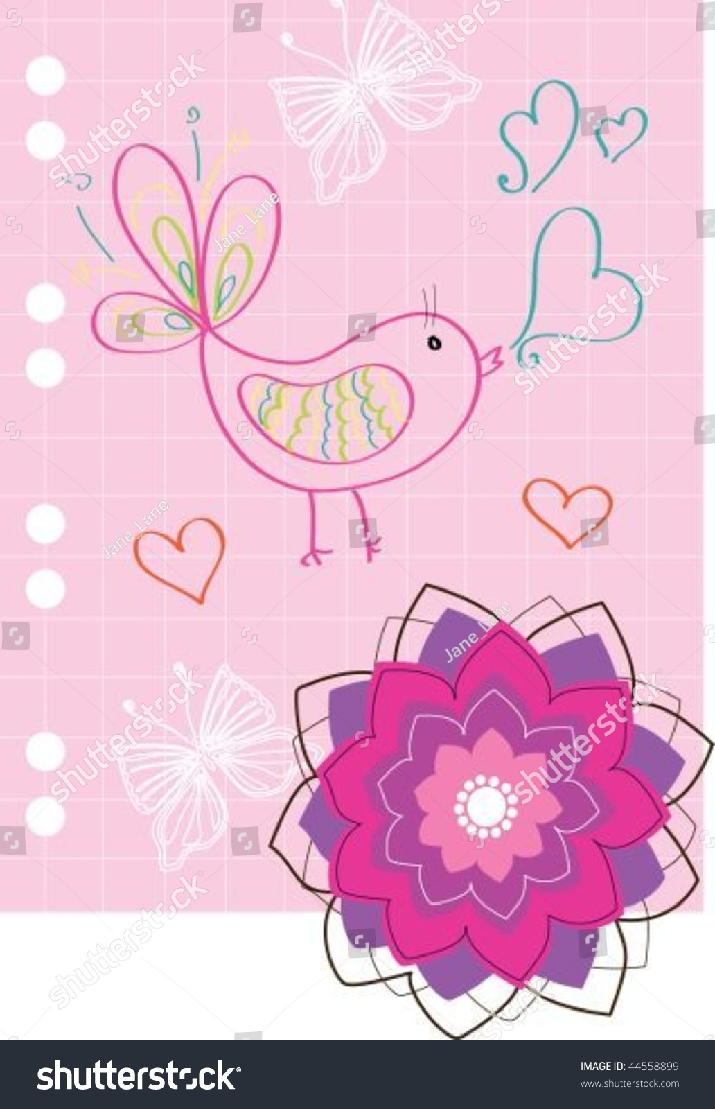 Pink valentine greeting card note paper stock vector 44558899 pink valentine greeting card note paper kristyandbryce Choice Image