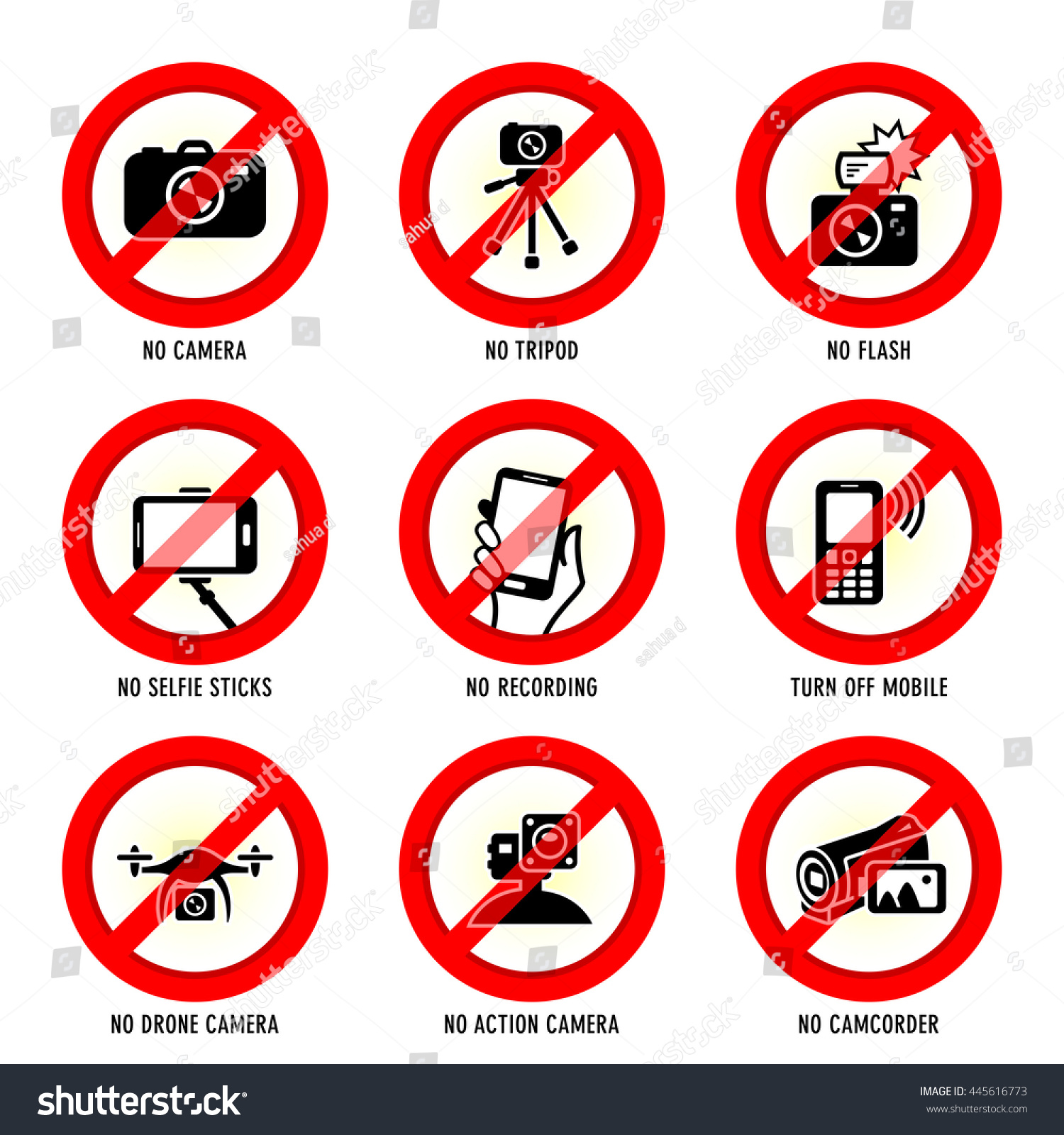 Public places media prohibited signs stock vector 445616773 public places media prohibited signs buycottarizona Image collections