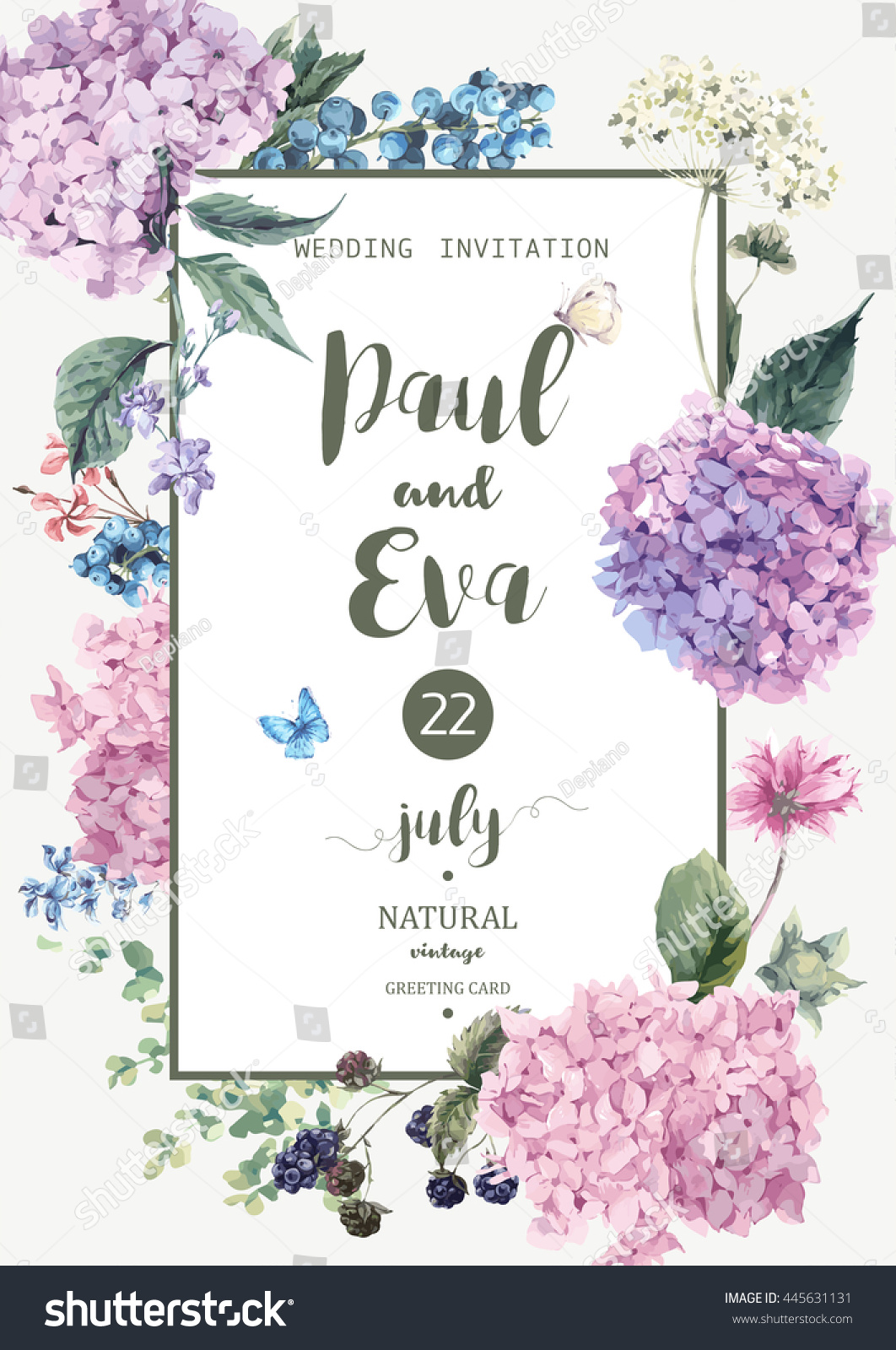 Vintage Floral Wedding Invitation Blooming Hydrangea Stock ...