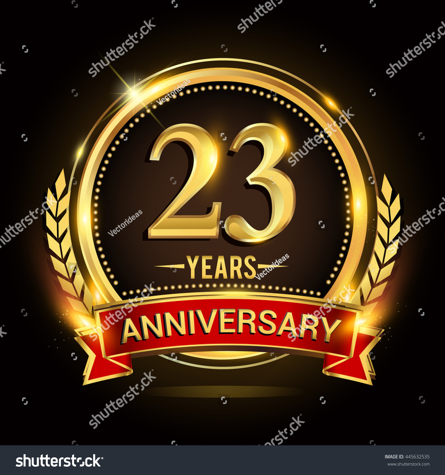 Celebrating 23 Years Anniversary Logo Golden Stock Vector Royalty
