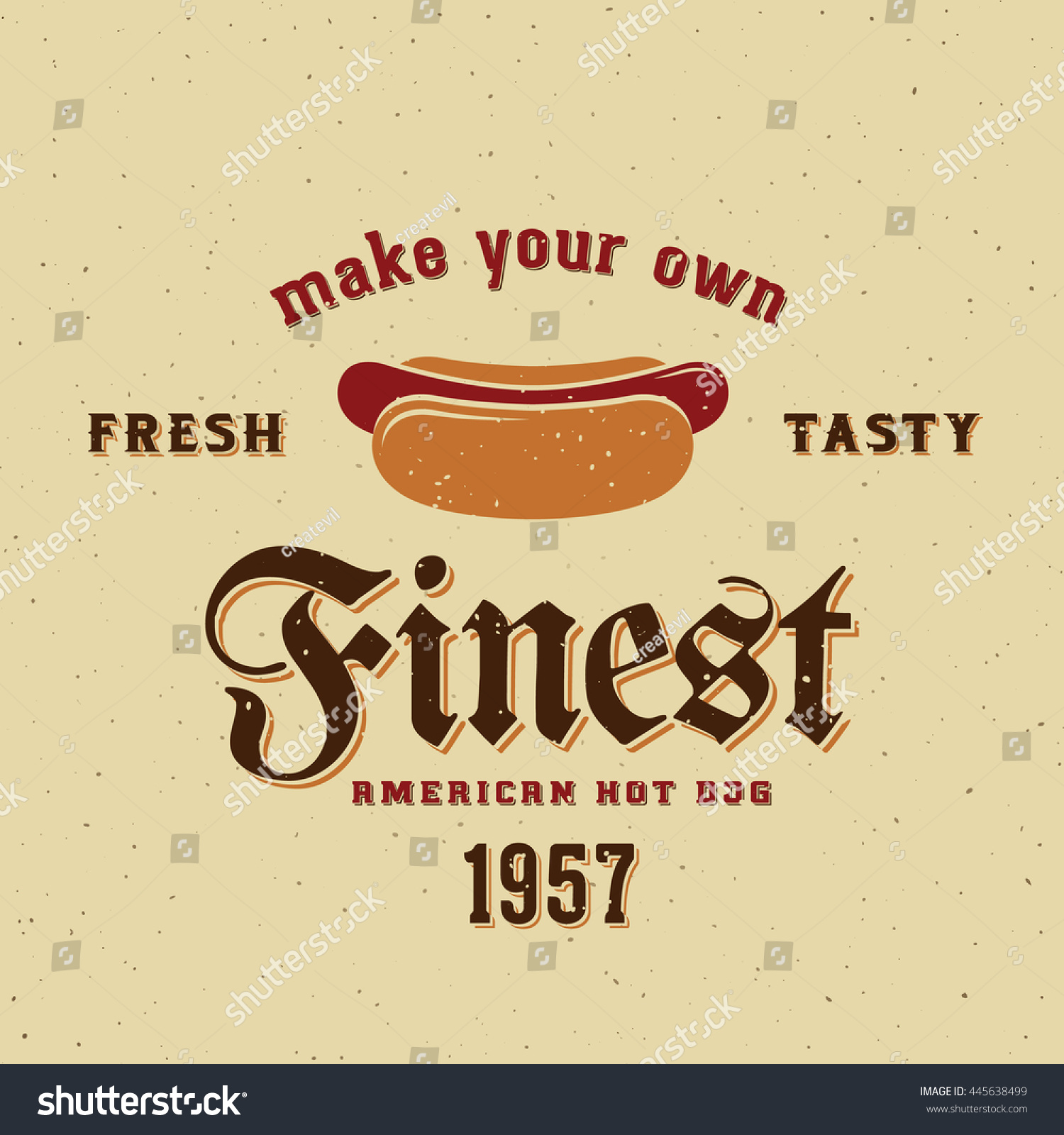 Finest American Hot Dog Vintage Vector Stock Vector Royalty Free