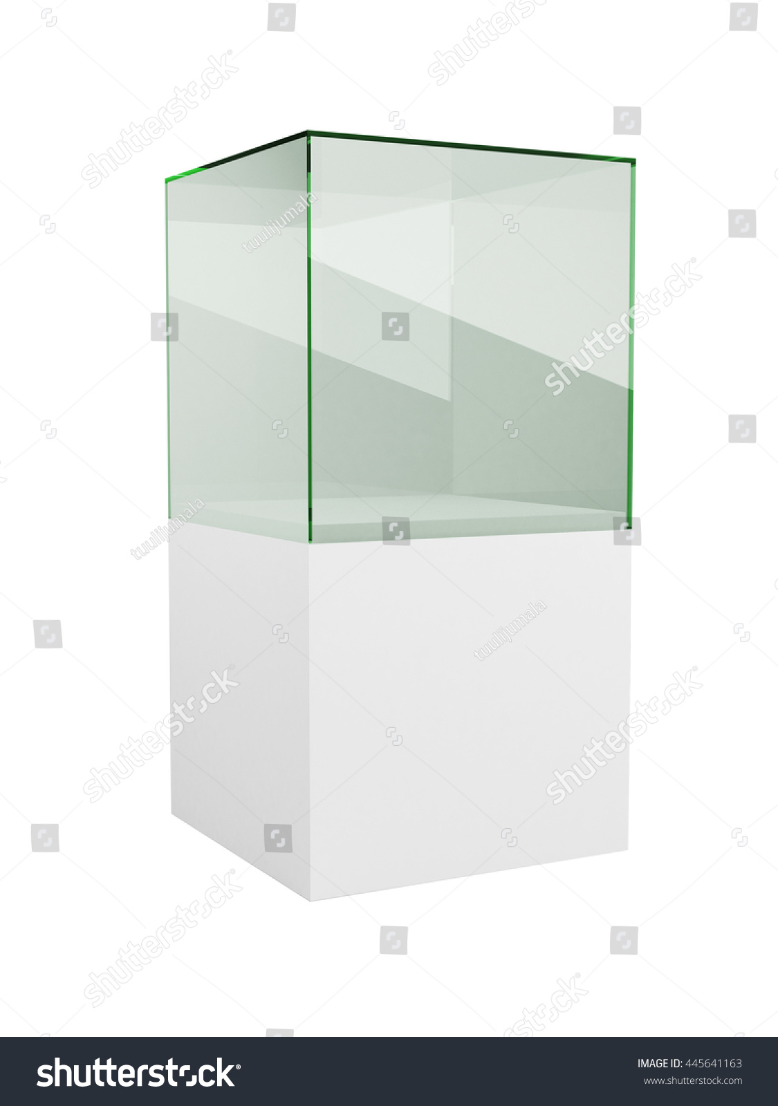 glass display cabinet isolated on white background 3d rendering of the empty exhibition or boutique