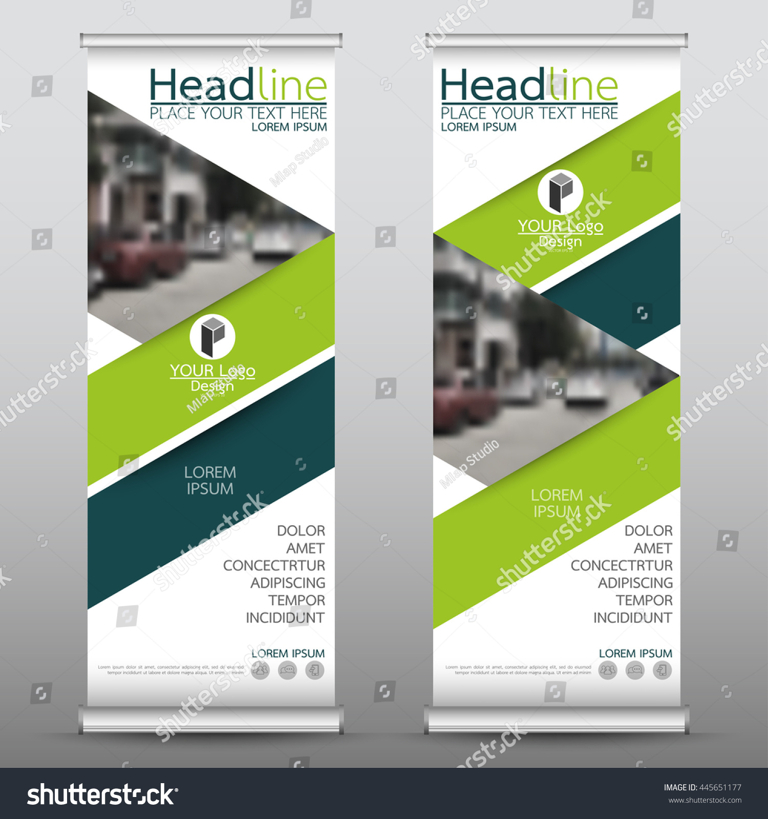 Green roll up business brochure flyer banner design vertical template - Green Roll Up Business Brochure Flyer Banner Design Vertical Template Vector Cover Presentation Abstract Geometric