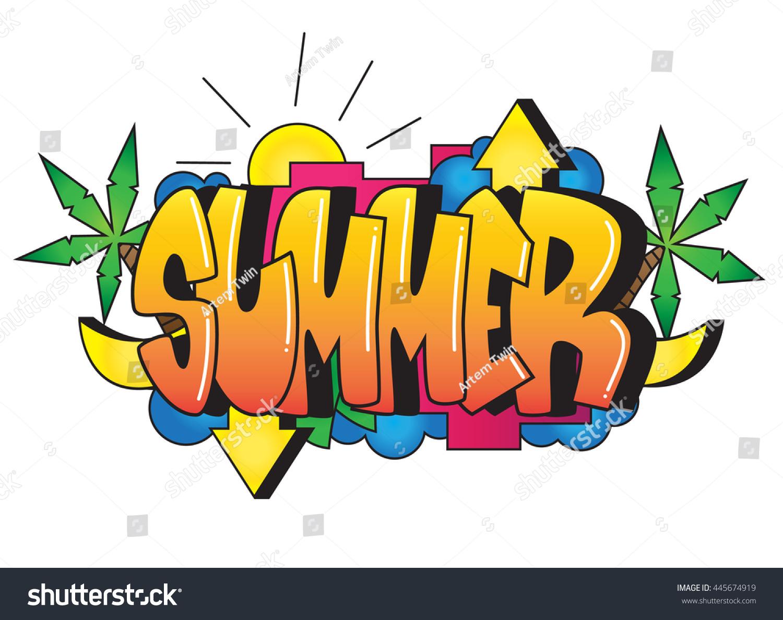 Graffiti Summer Word Street Art Spray Stock Vector ...