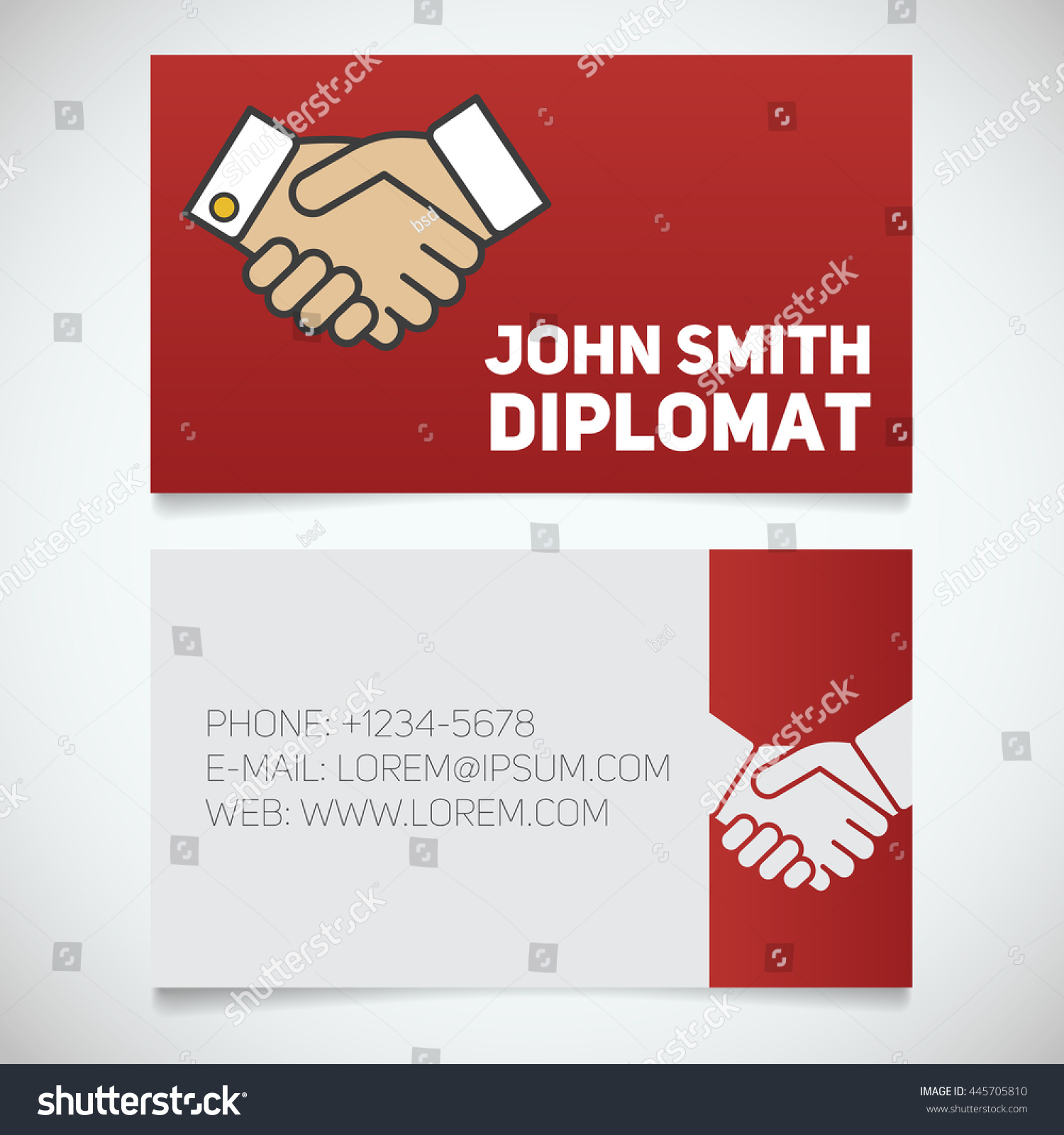 business card print template handshake logo stock vector