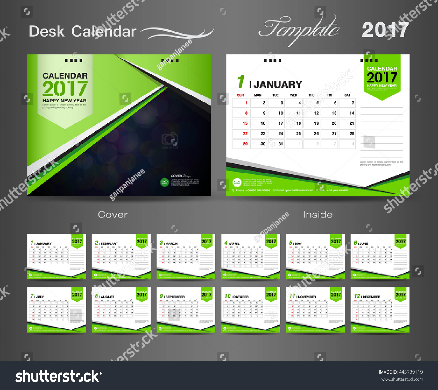 Calendar Cover Design 2014 : Set green desk calendar vector stock