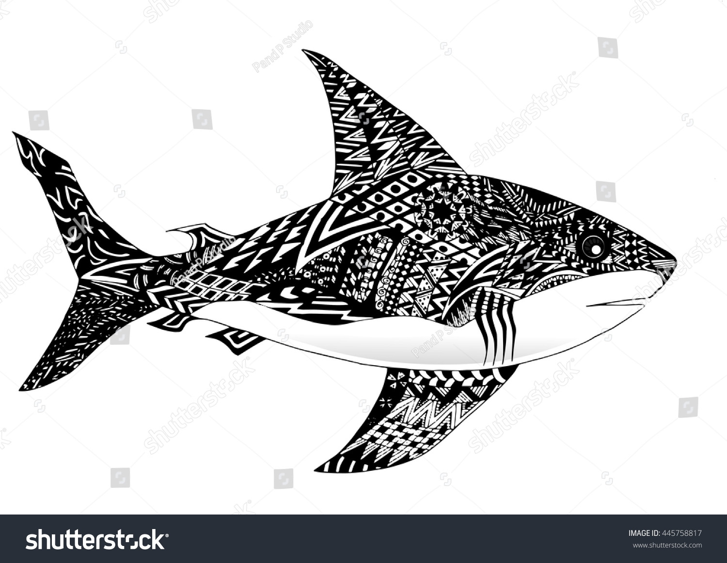 Stock vector ethnic animal doodle detail pattern killer whale - Zentangle Style Shark Illustration In Doodle Style Vector Monochrome Sketch With High Details Isolated On