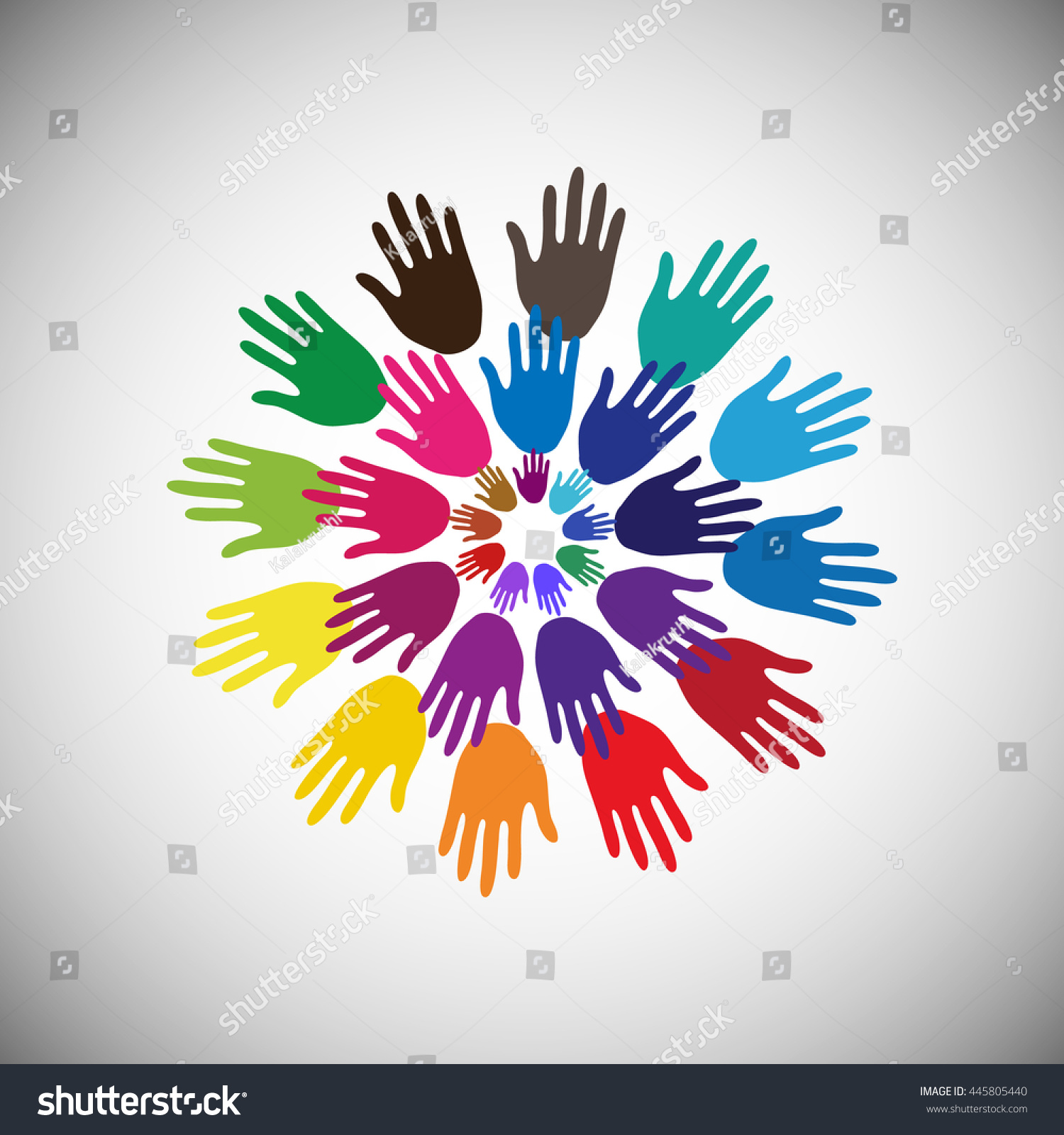 Colorful Hands On White Background Circle Stock Vector Royalty Free