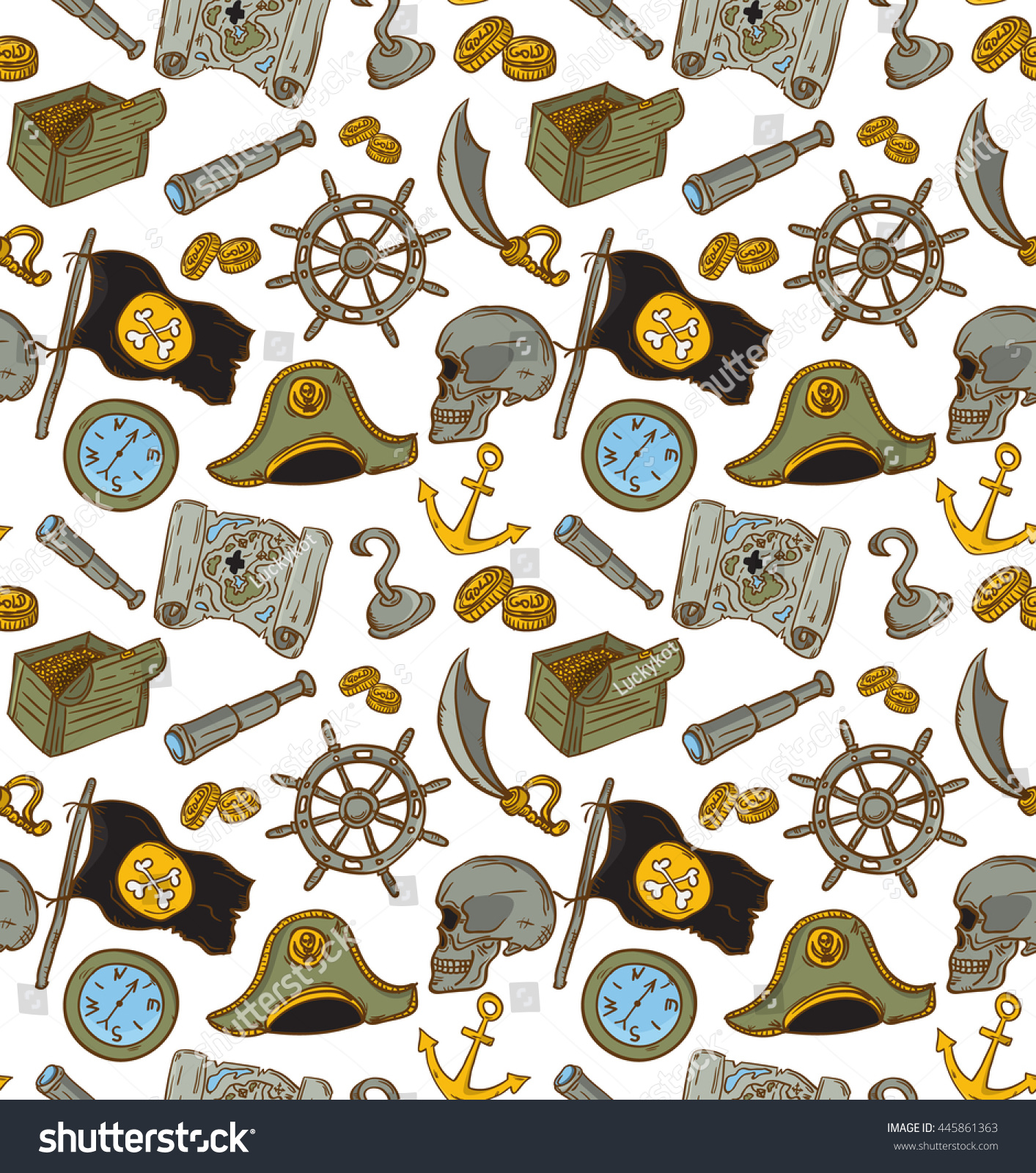 Hand Drawn Seamless Pirate Pattern Vector Stock Vector Royalty Free