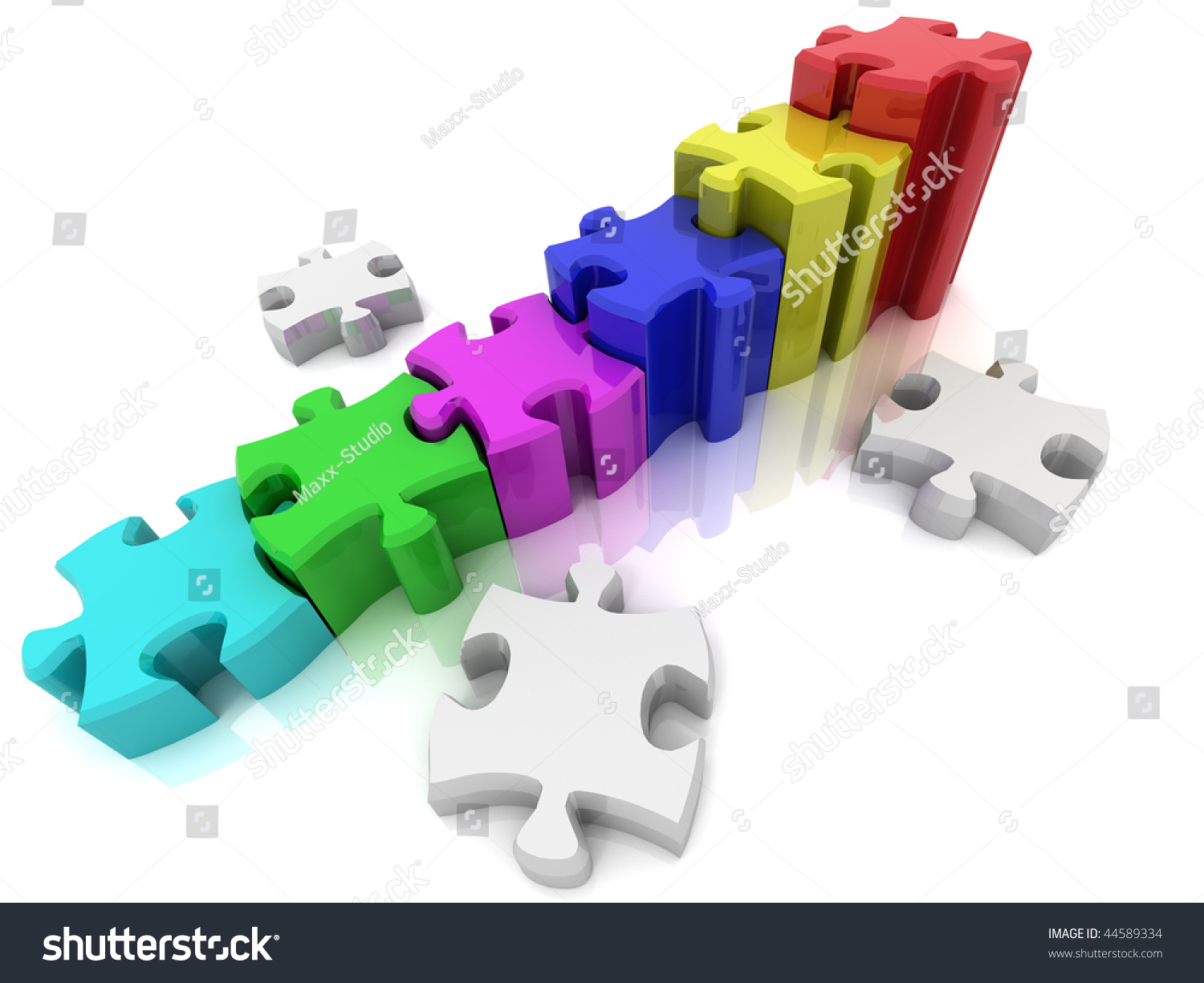 Graph From Puzzle 3d Stock Photo 44589334 Shutterstock