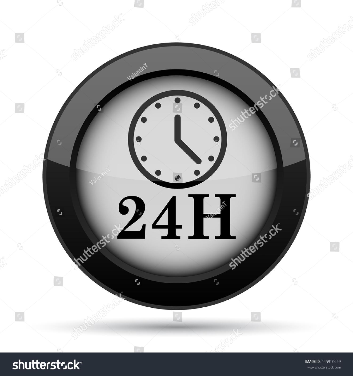 24h Clock Icon Internet Button On Stock Illustration 445910059