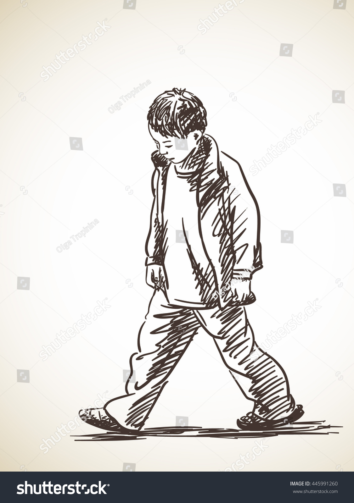 Sketch of sad boy walking hand drawn illustration