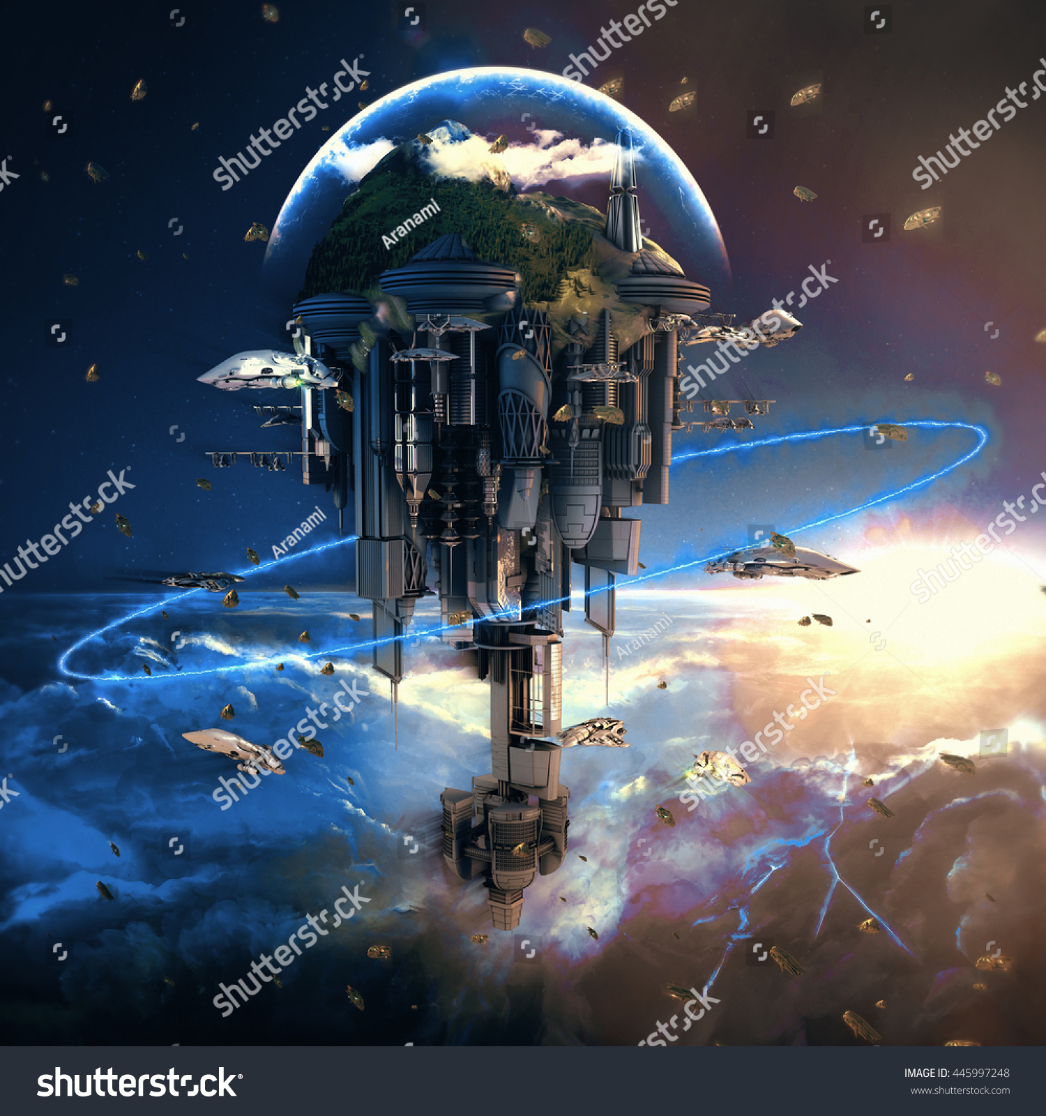 Sciencefiction City Giant Skyscrapers Flying Spaceships ...