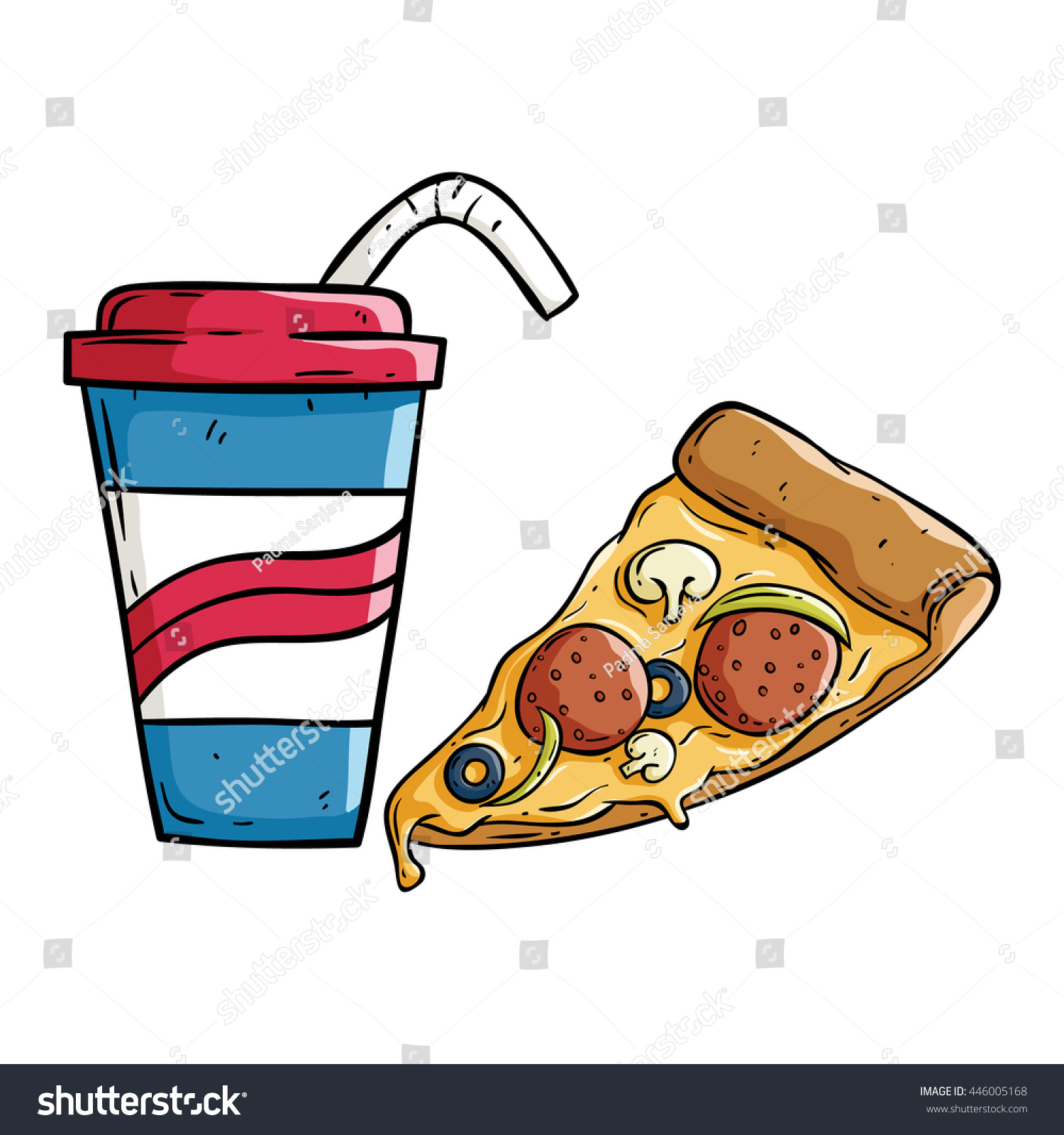Soda cup pizza slice doodle style stock vector 446005168 for Pizza in a mug without baking soda
