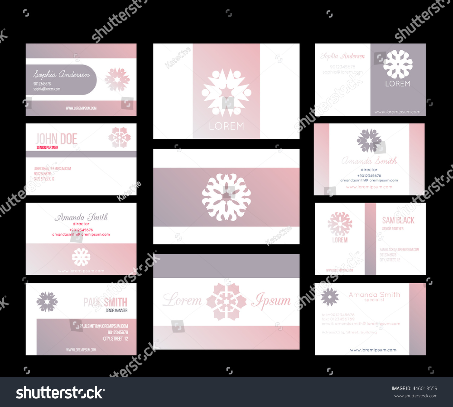 Big set vector business cards layout stock vector 446013559 big set of vector business cards layout templates front and back side brand identity magicingreecefo Images