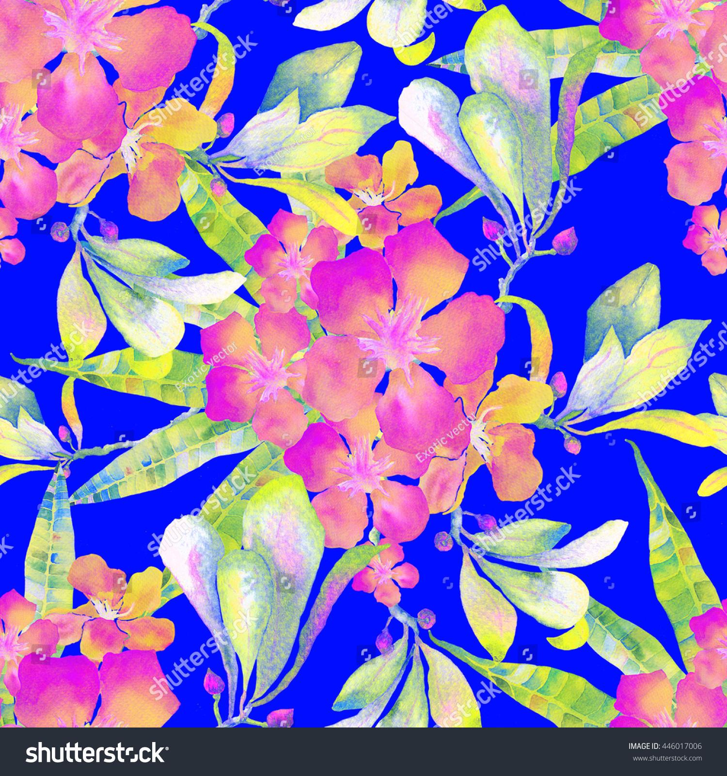 Tropical Flowers Pattern Hawaiian Tropical Flowers Stock