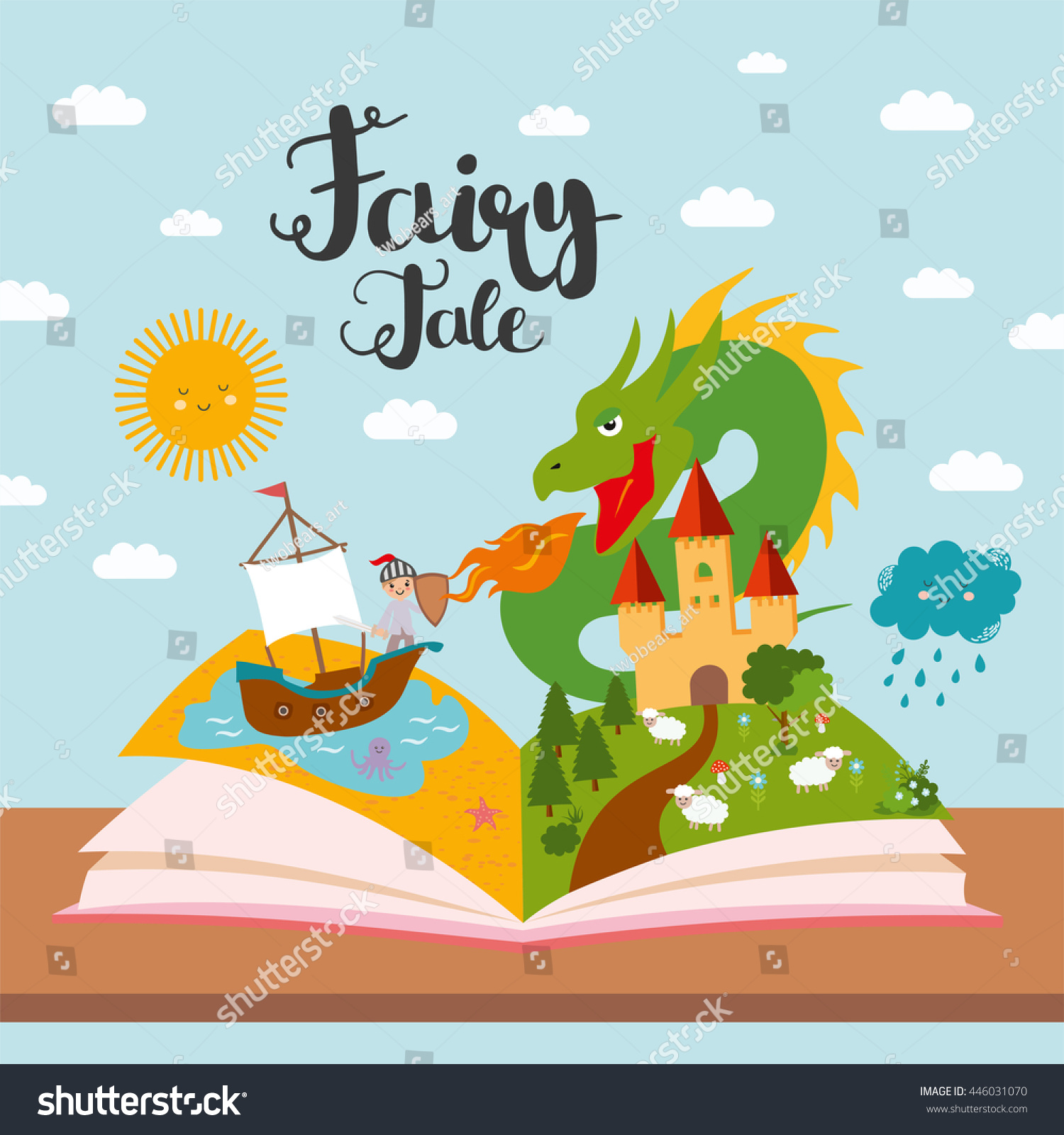 Uncategorized Fairy Tale For Kids fairy tale concept kids illustration evil stock vector 446031070 with dragon ship on sea dense forest