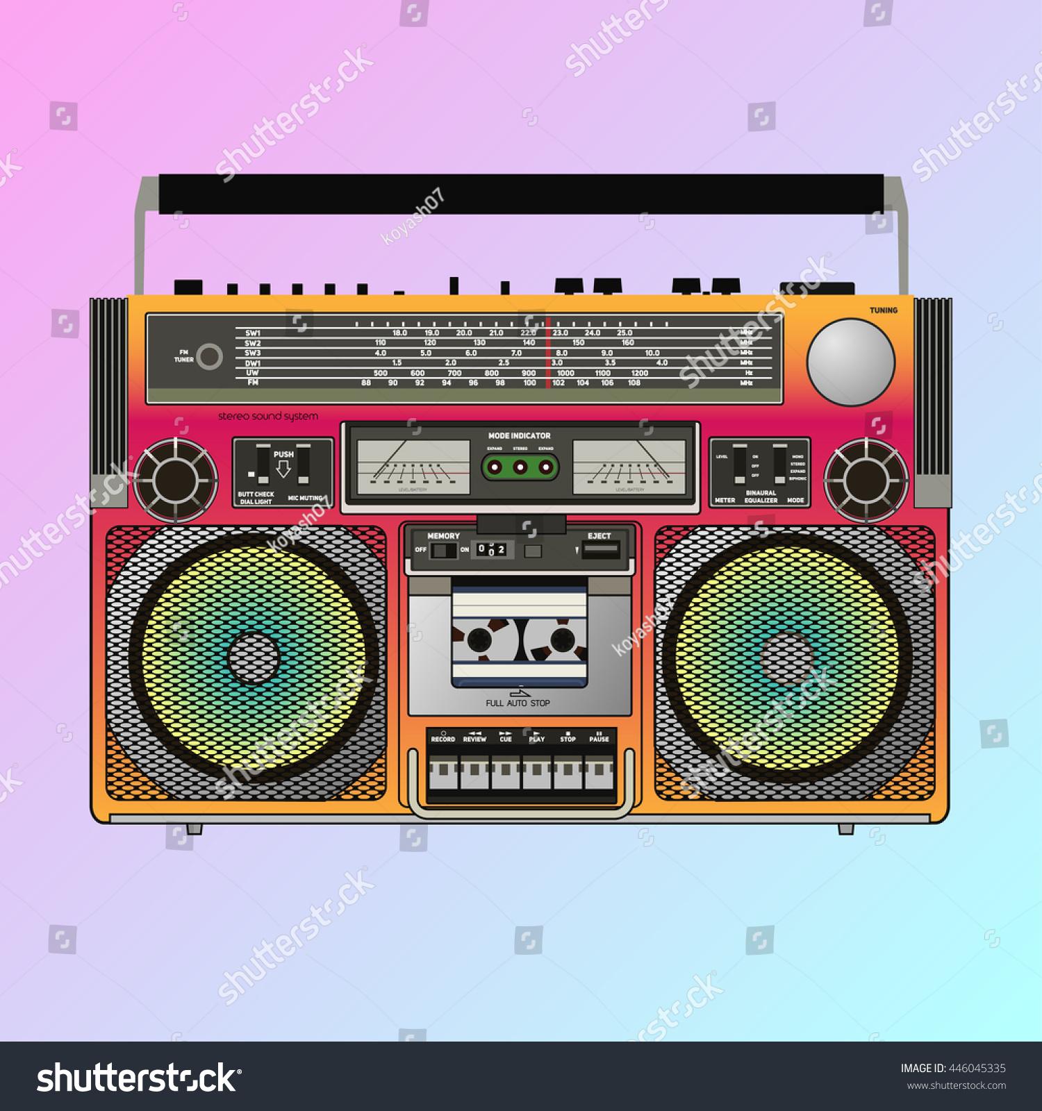 Boombox Cassette Stereo Recorder Eighties Bass Vector de ...