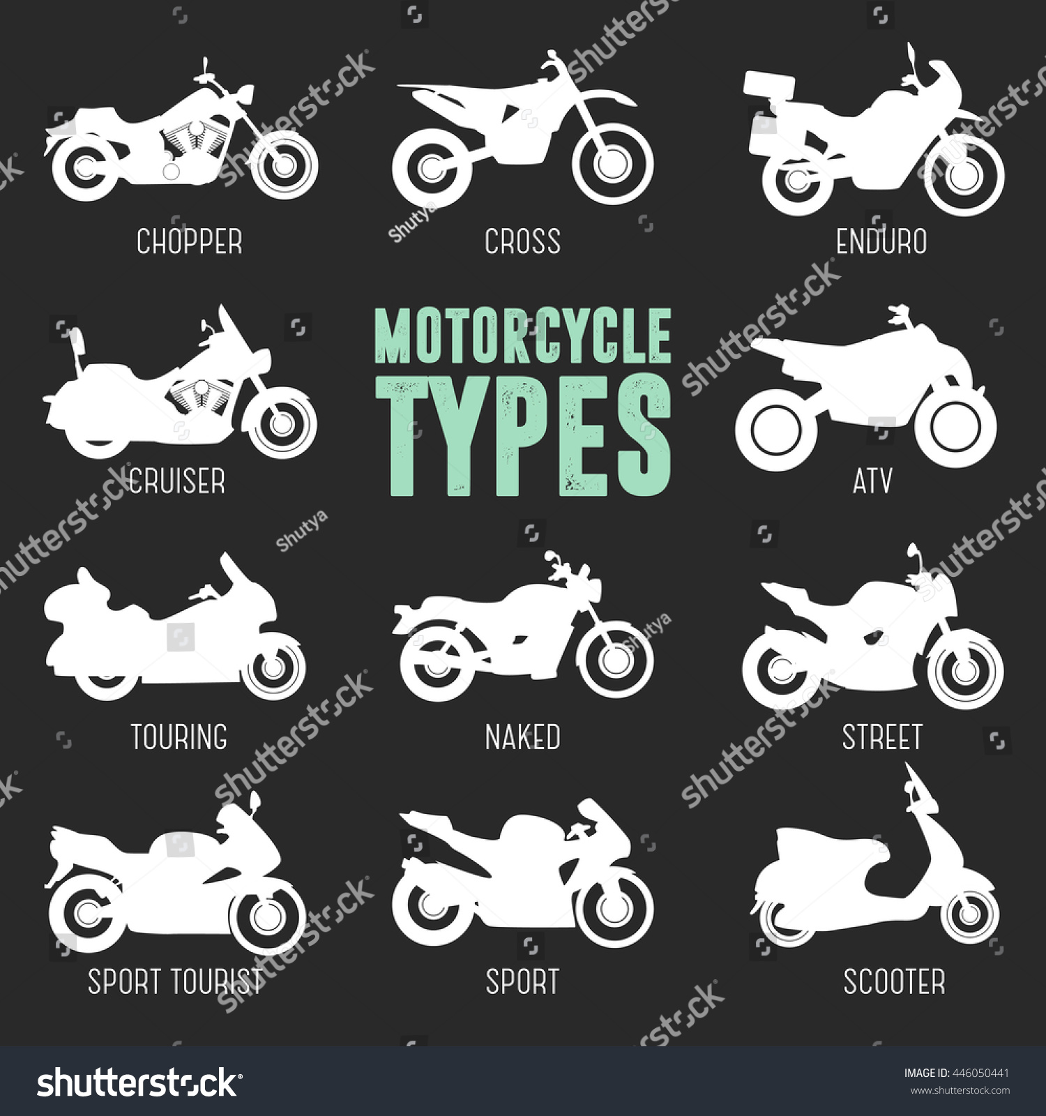 Motorcycle Model And Type Objects Icons Moto Set Black Vector Illustration Isolated On