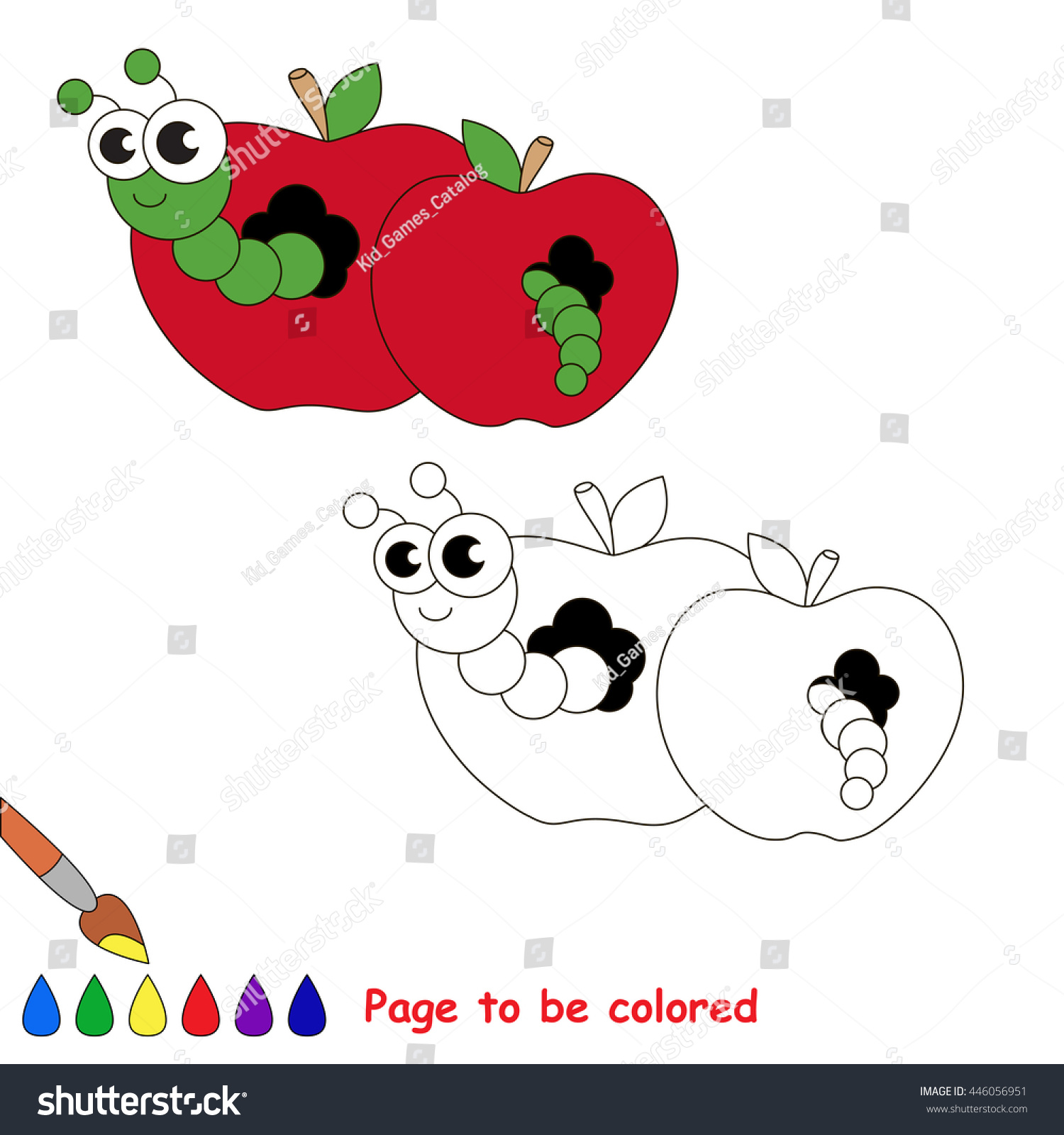 red apple worm be colored coloring stock vector 446056951
