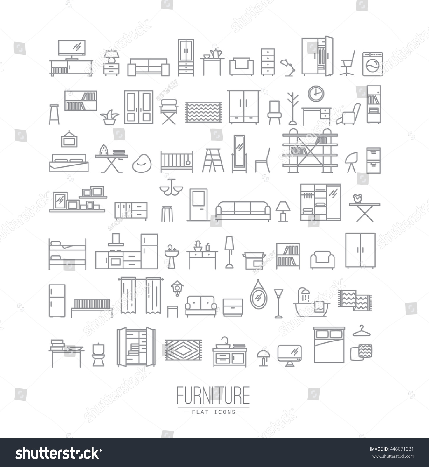 Furniture And Home Decor Icon Set In Modern Flat Style Drawing With Grey  Lines On White