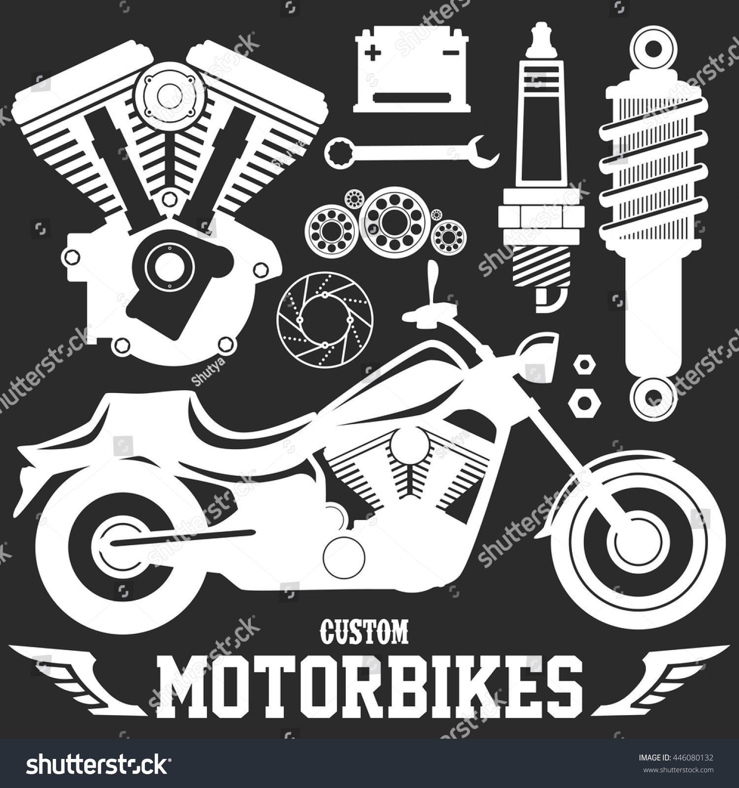 Parts of a poster design - Motorcycle Parts Bike Custom Garage Items V Twin Engine Piston Brake