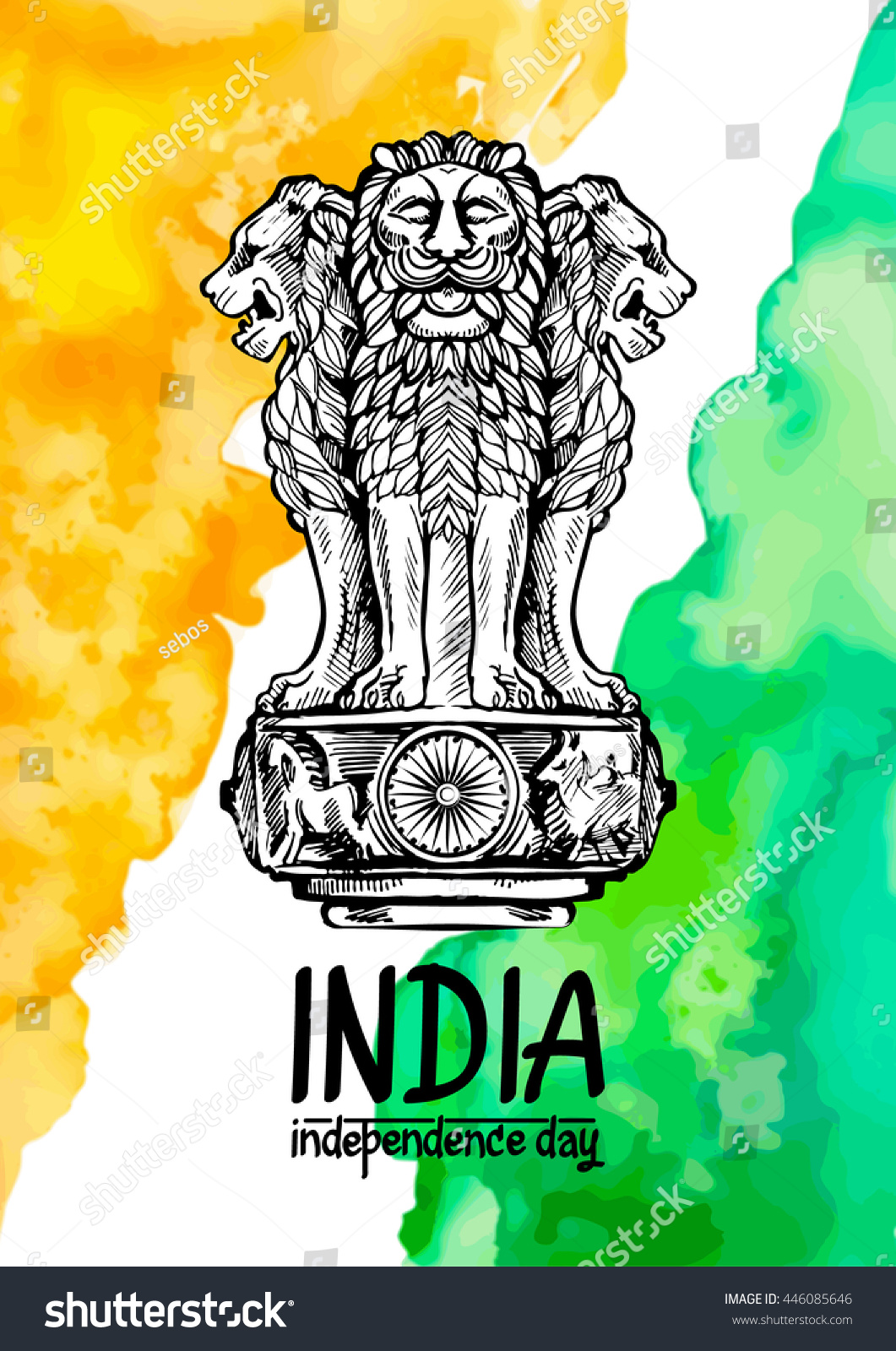 Colors website ashoka - Lion Capital Of Ashoka In Indian Flag Color Emblem Of India Watercolor Texture Backdrop