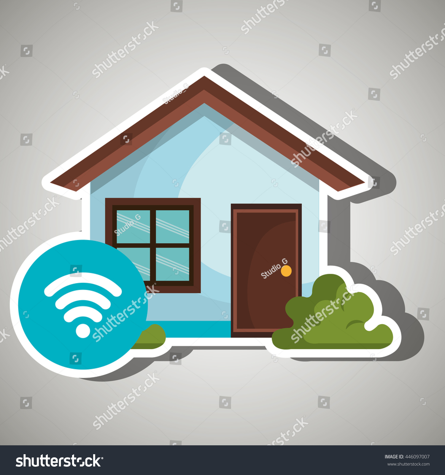Smart home wifi zone isolated icon stock vector 446097007 shutterstock Home wifi architecture