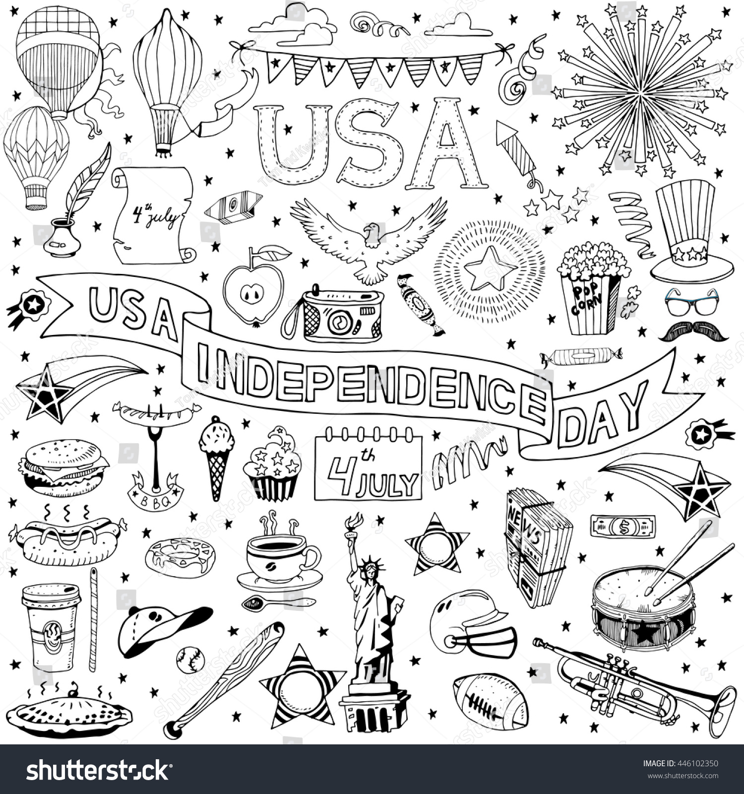 American Independence Day Themed Doodle Set Stock Vector Royalty