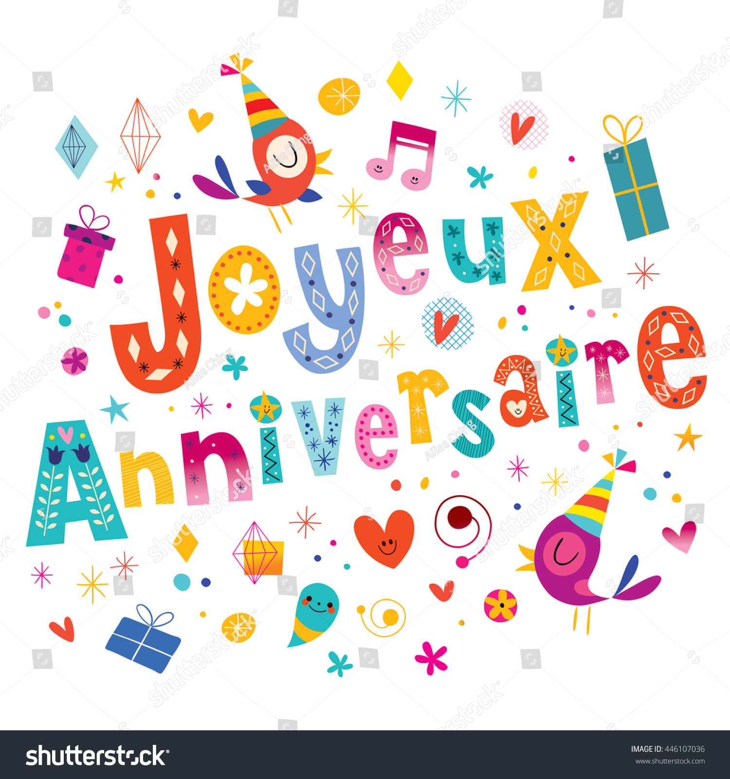 Joyeux Anniversaire Happy Birthday French Greeting Stock