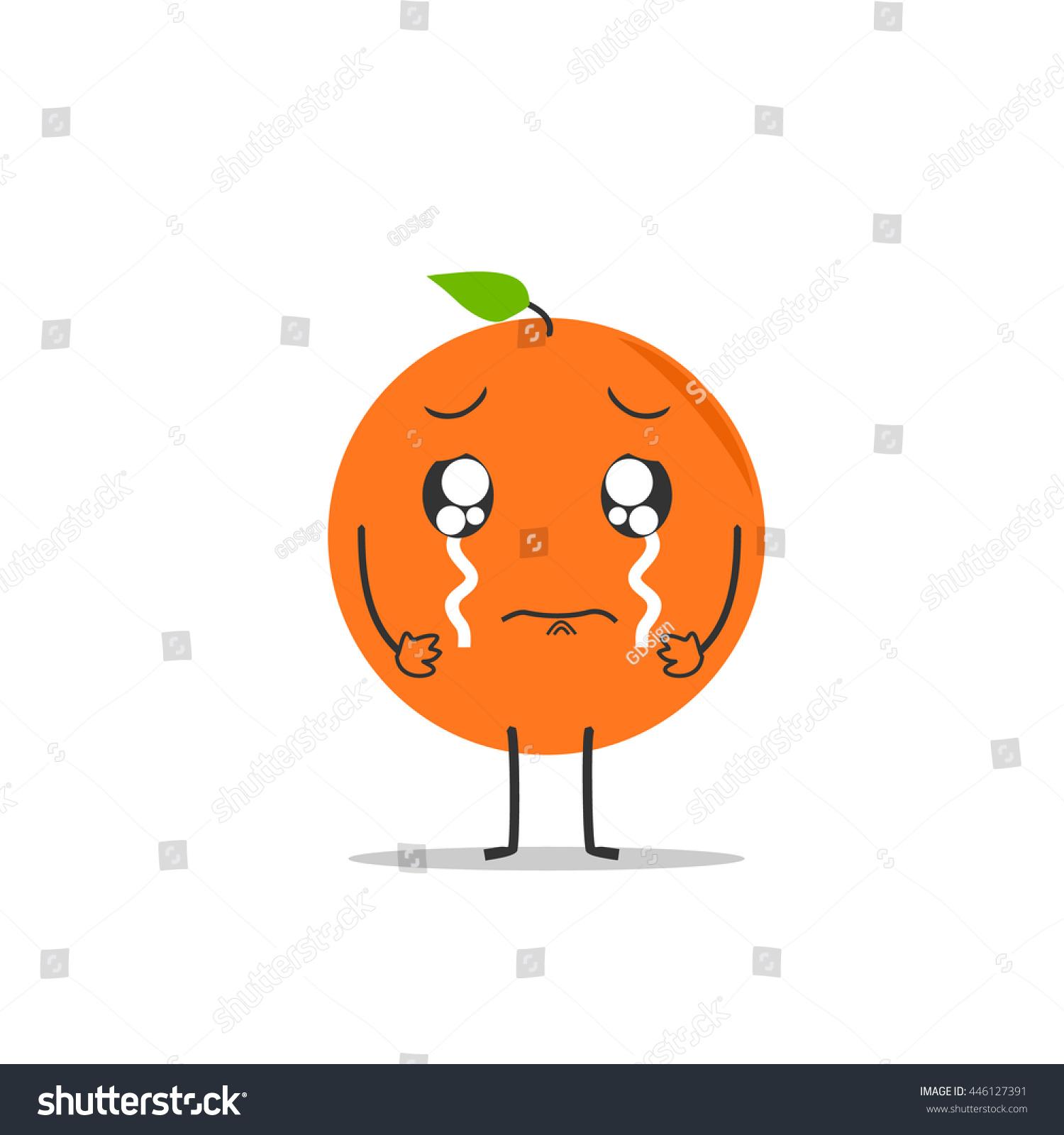 crying orange simple clean cartoon illustration stock vector crying orange simple clean cartoon illustration