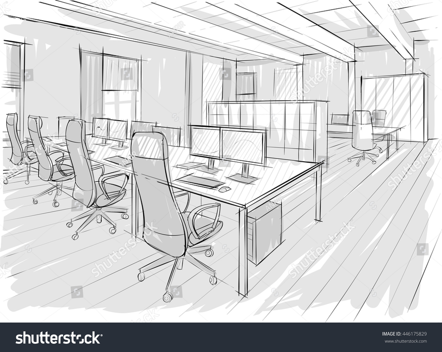 Drawing Lines In Office : Architectural sketch office drawing stock vector