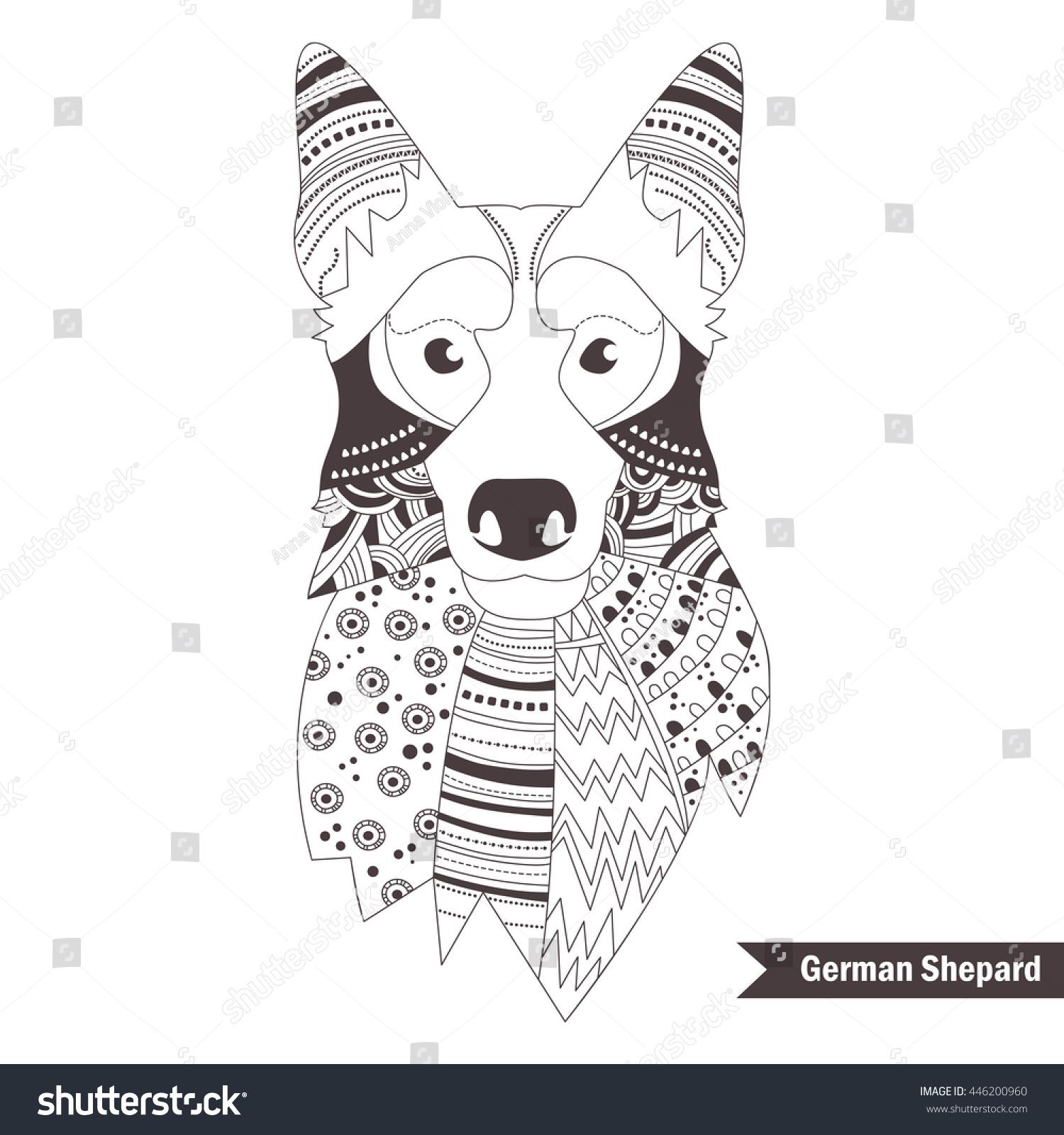german shepherd zentangle style coloring book stock vector