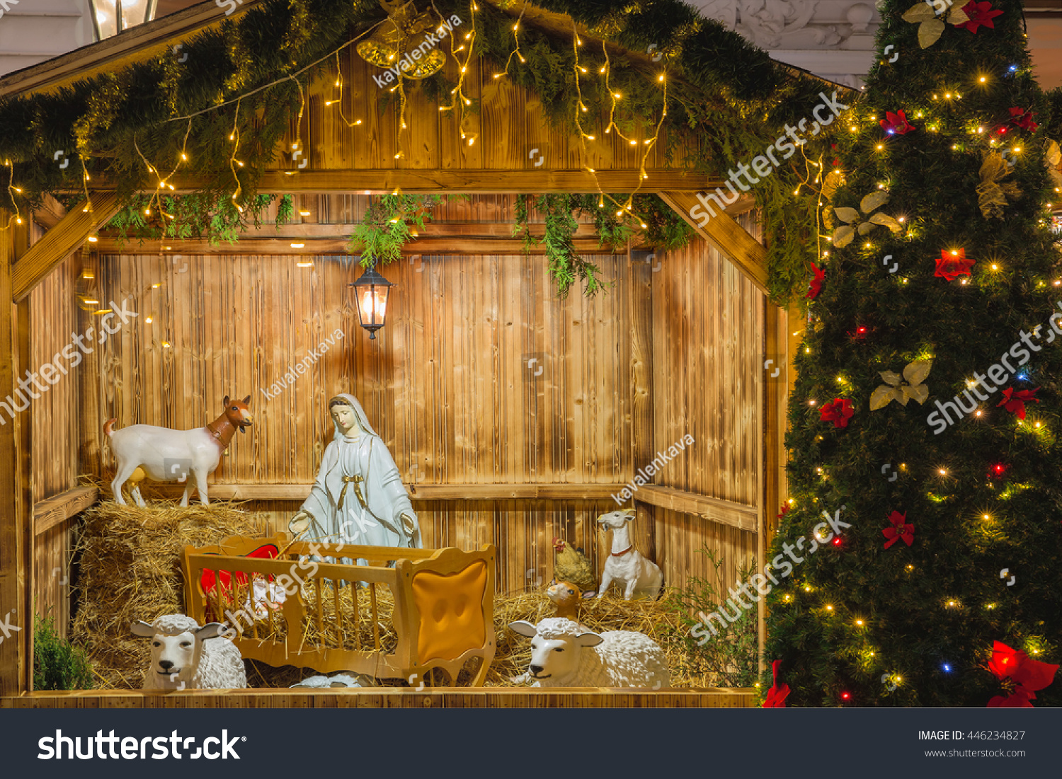nativity scene holy family joseph mary stock photo 446234827