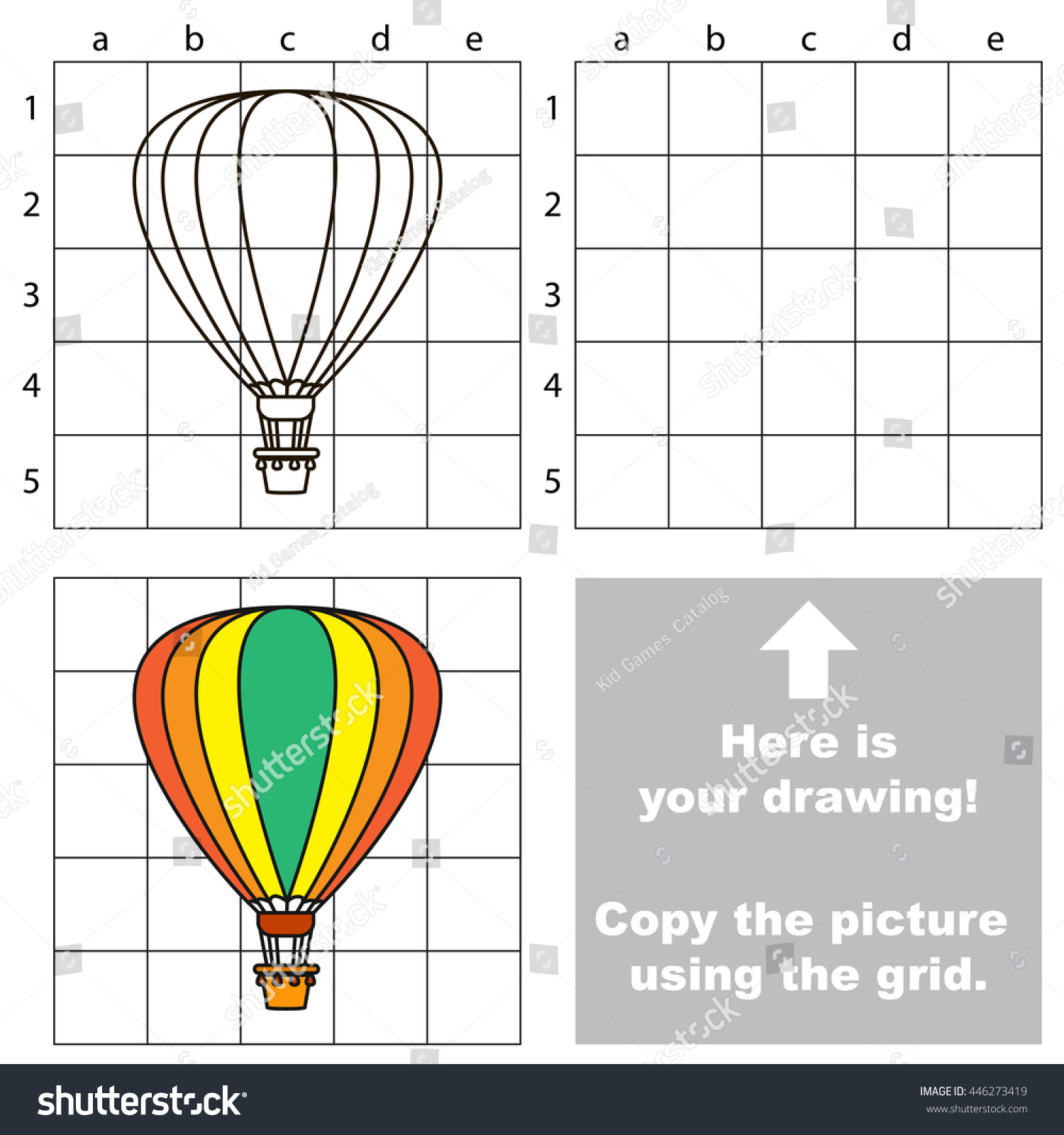 copy picture using grid lines easy stock vector 446273419