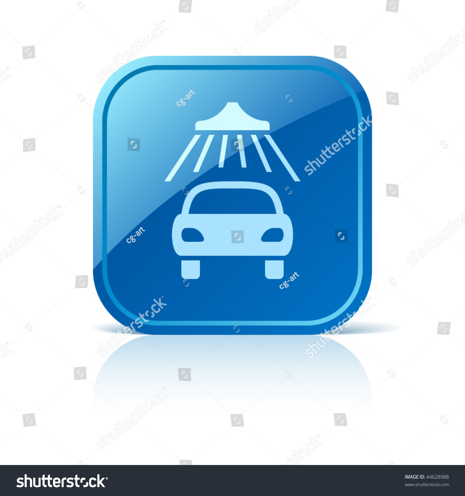 car wash icon on blue glossy stock vector 44628988 shutterstock. Black Bedroom Furniture Sets. Home Design Ideas