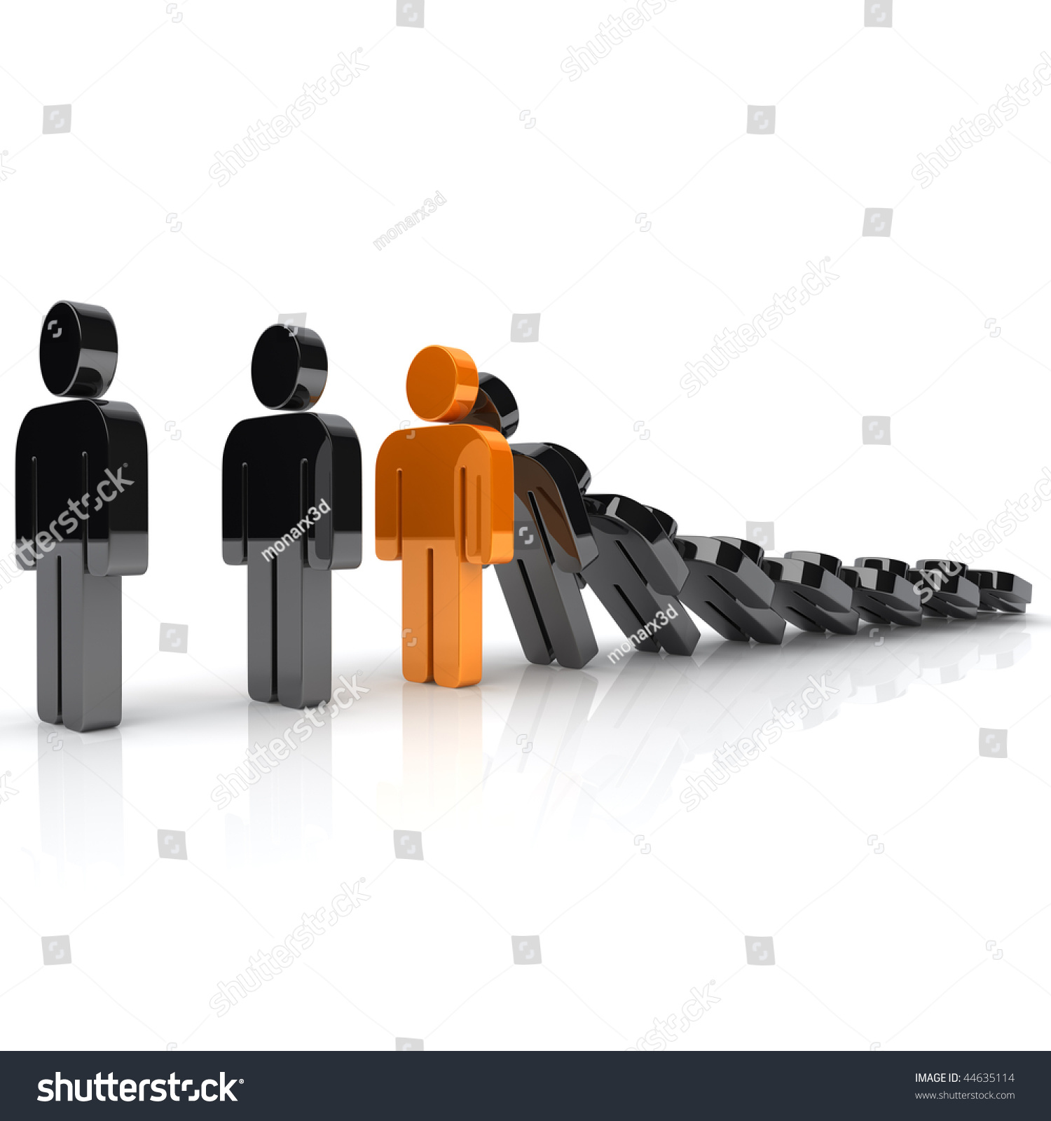 illustration strong orange man domino effect stock illustration illustration of strong orange man and domino effect