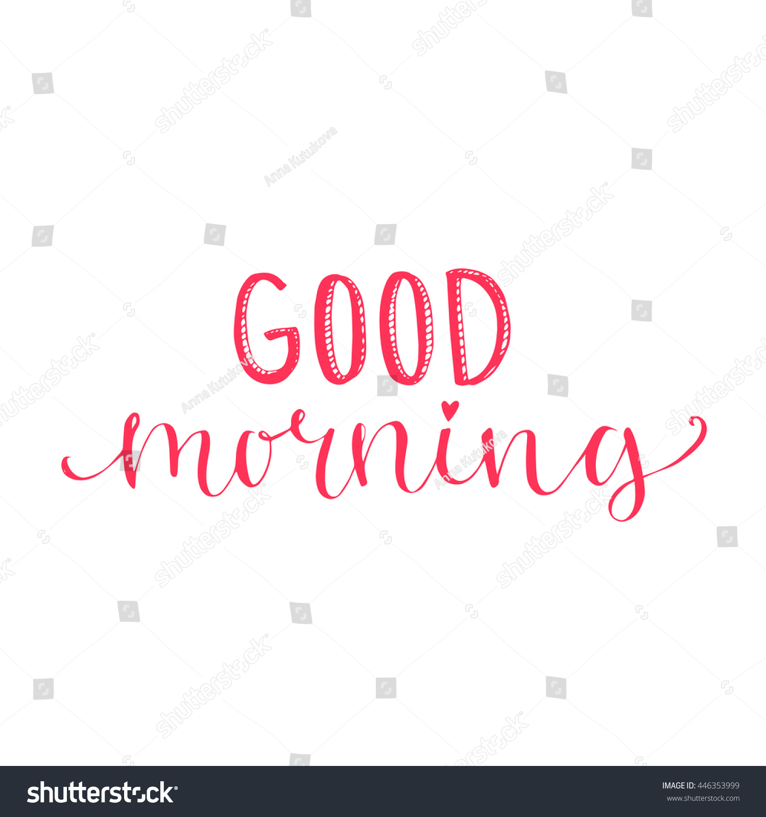 Good Morning Words Lettering Social Media Stock Vector Royalty Free
