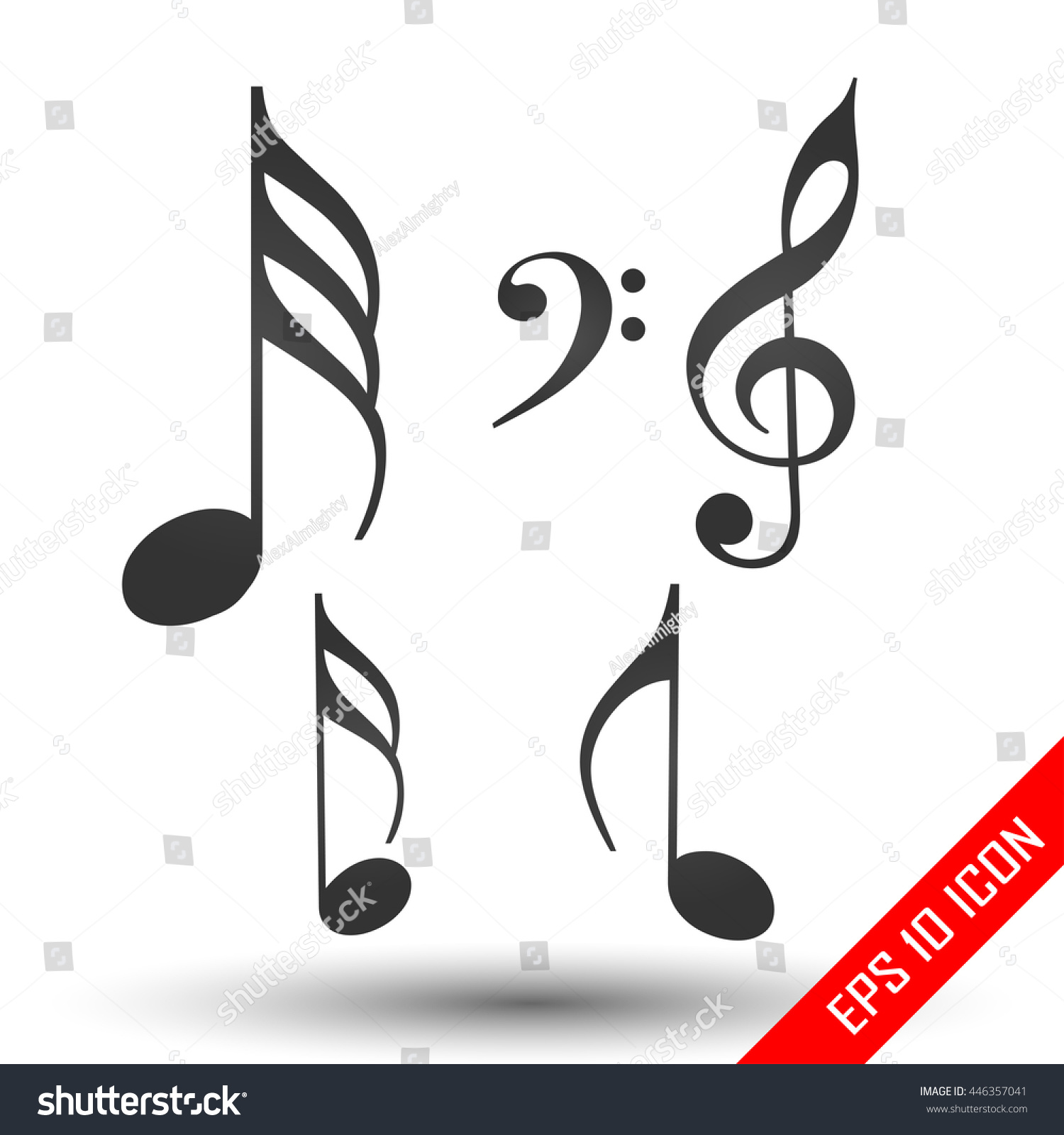 music notes icon simple flat logo stock vector 446357041