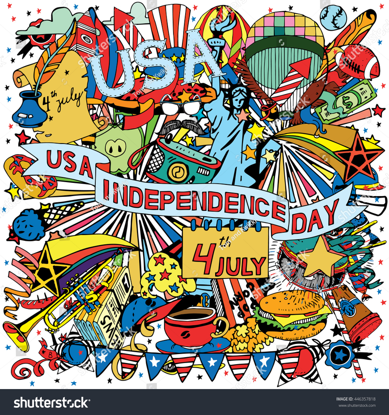 American Independence Day Themed Doodle Collage Stock Vector