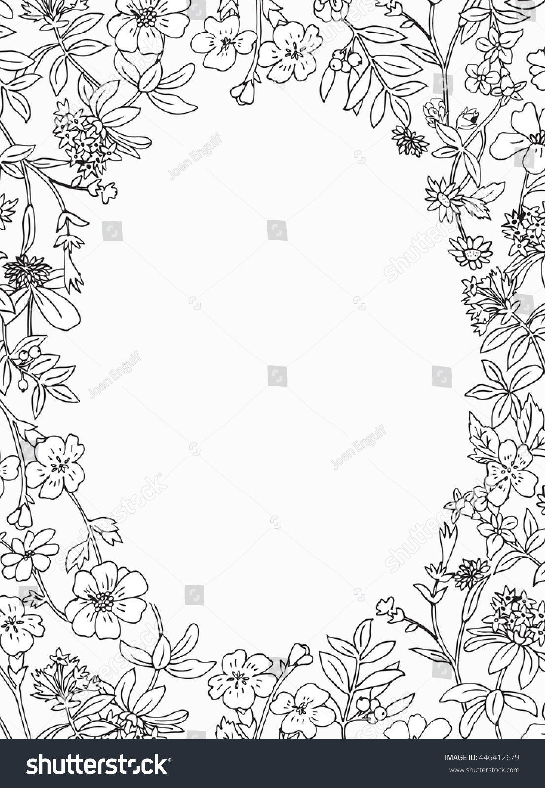 Secret Meadow Garden Floral Pattern Adult Coloring Greeting Card