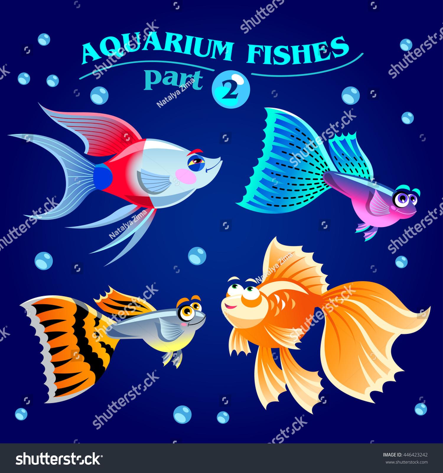 Vector Set Freshwater Aquarium Fishes Cartoon Stock Vector HD